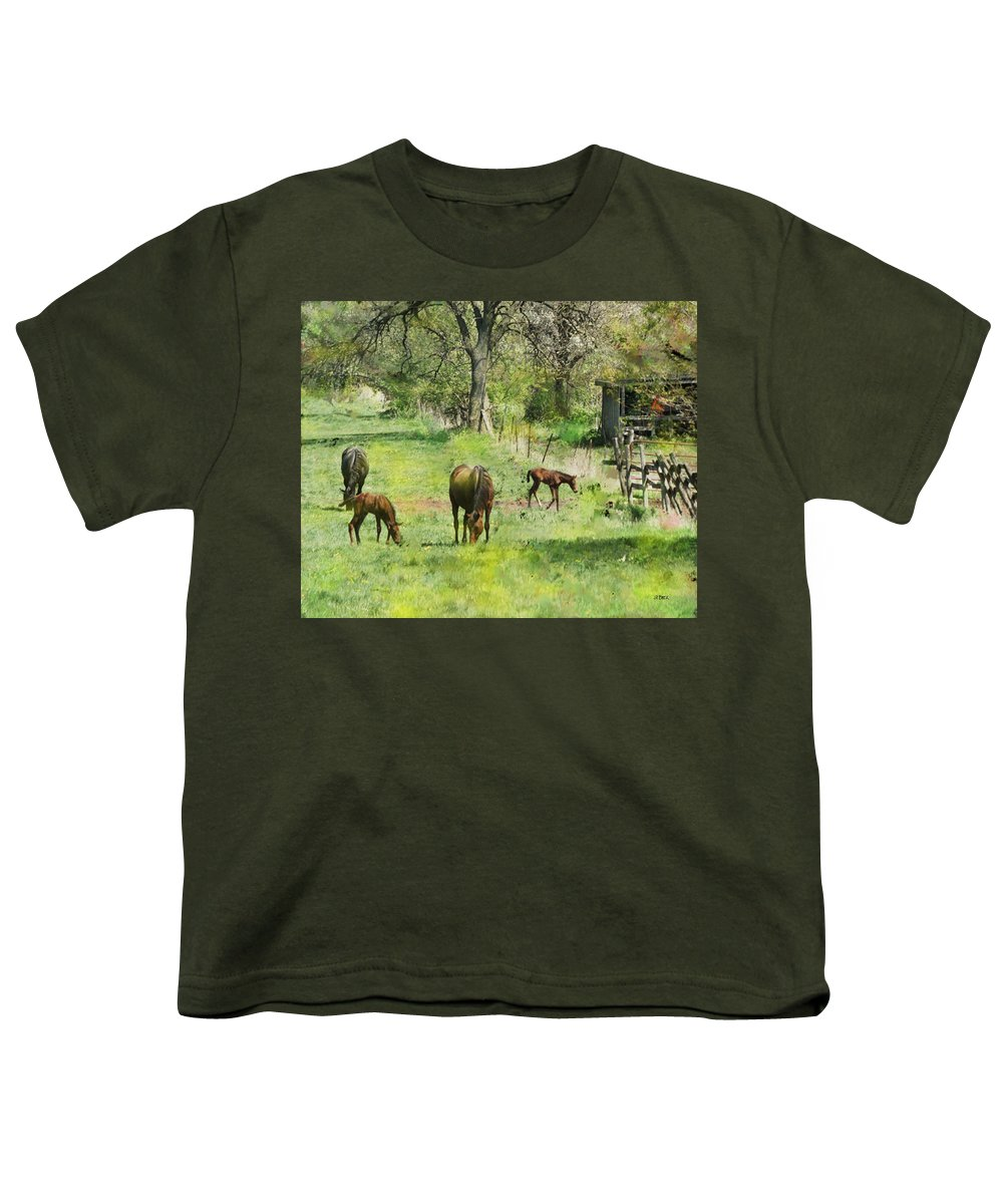 Spring Colts Youth T-Shirt featuring the digital art Spring Colts by John Beck