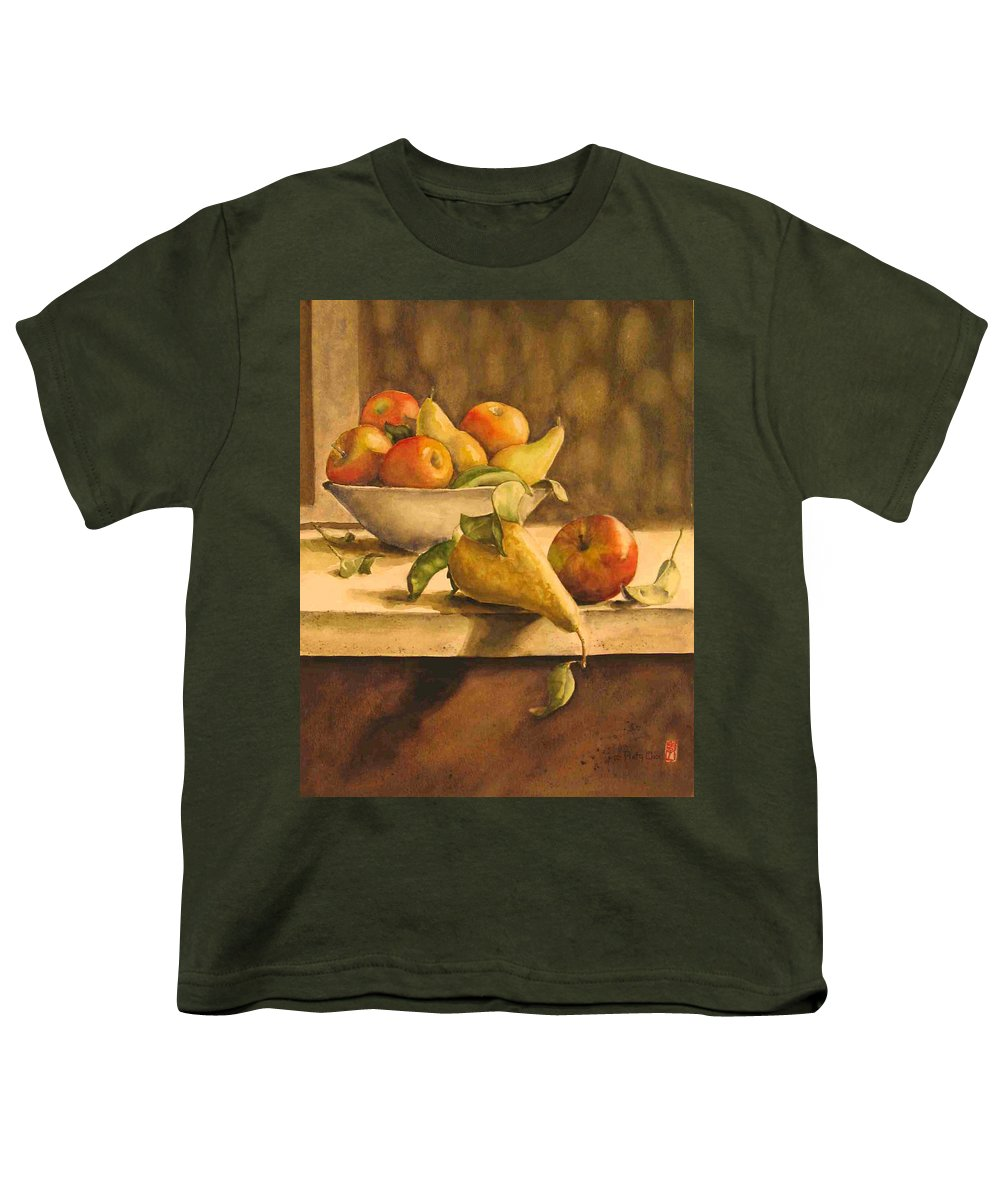 Still-life Youth T-Shirt featuring the painting Still-life With Apples And Pears by Piety Choi