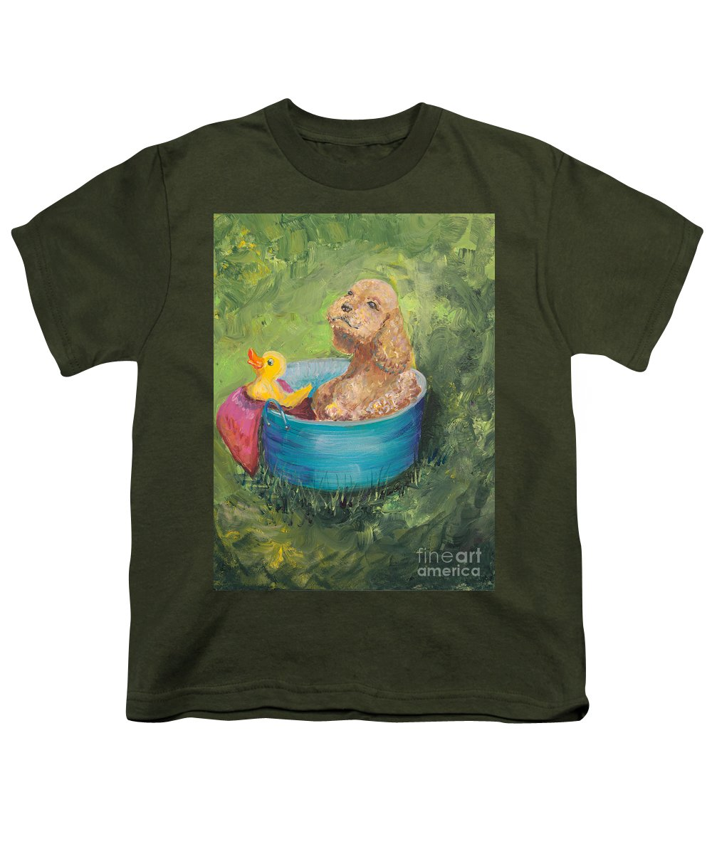 Dog Youth T-Shirt featuring the painting Summer Fun by Nadine Rippelmeyer