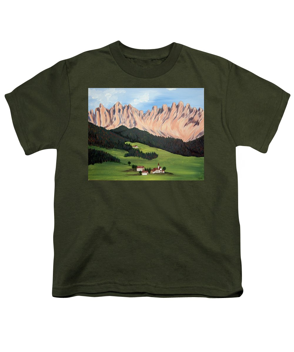 Landscape Youth T-Shirt featuring the painting Summer In Switzerland by Marco Morales