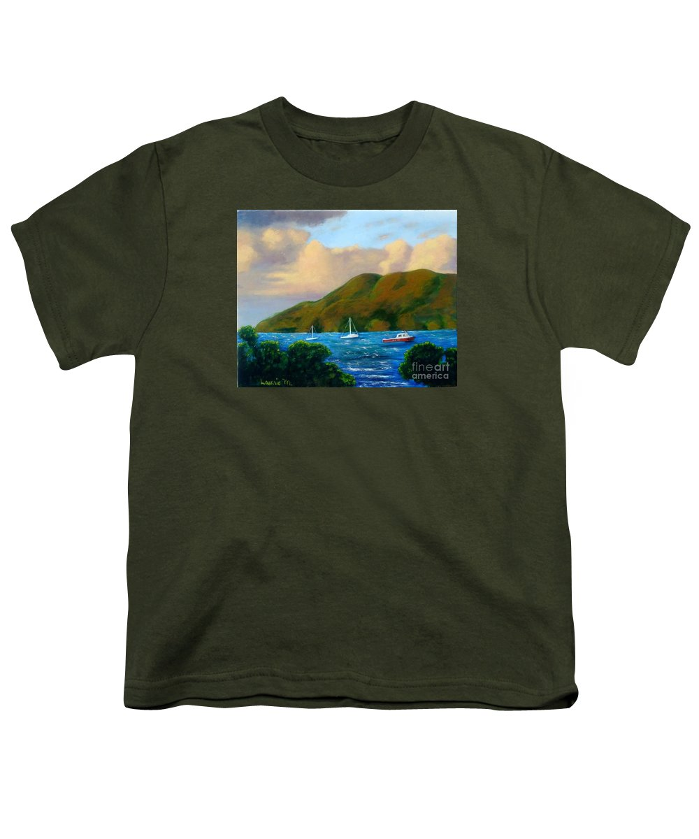 Sunset Youth T-Shirt featuring the painting Sunset On Cruz Bay by Laurie Morgan