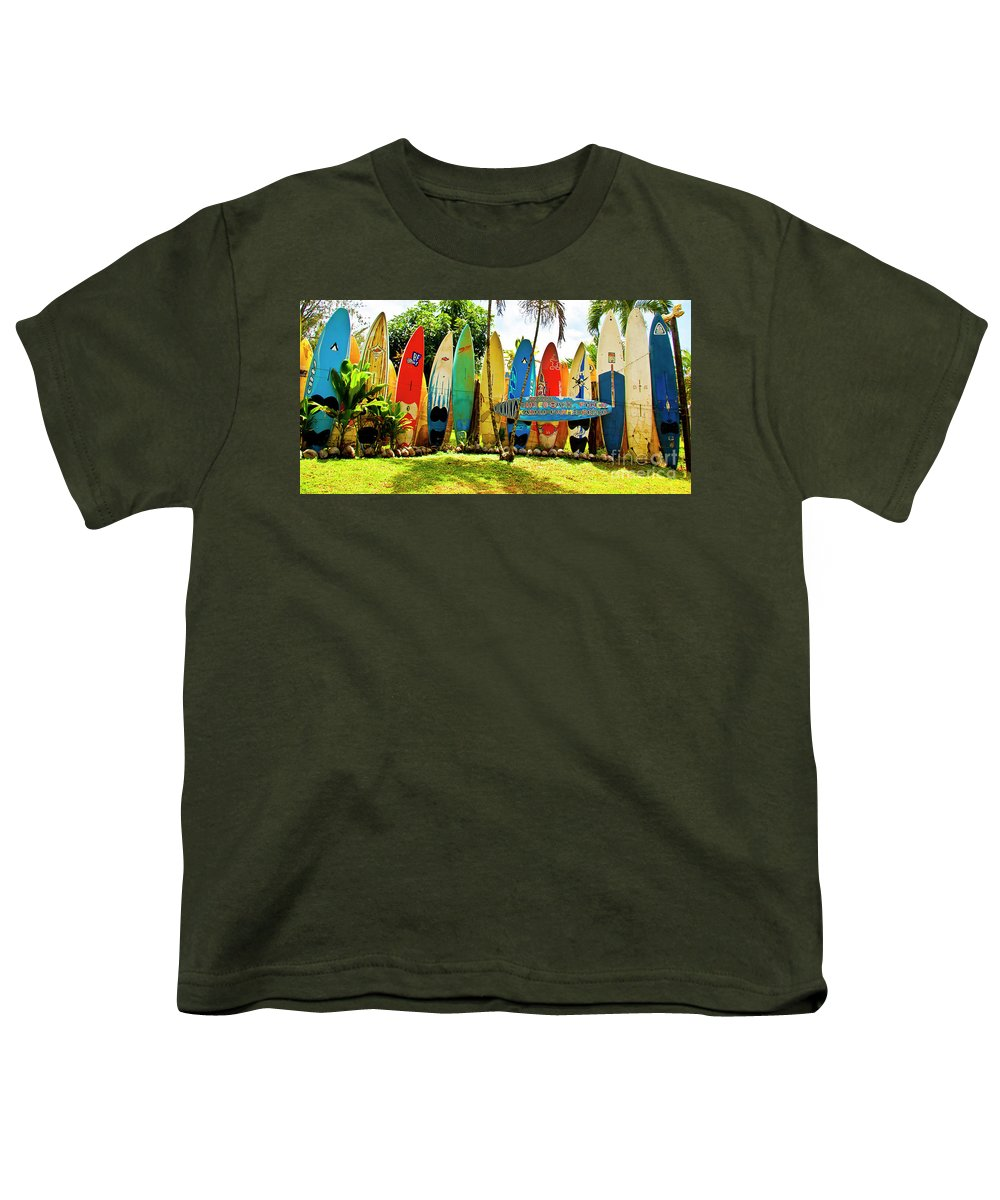 Surfboard Youth T-Shirt featuring the photograph Surfboard Fence II-the Amazing Race by Jim Cazel