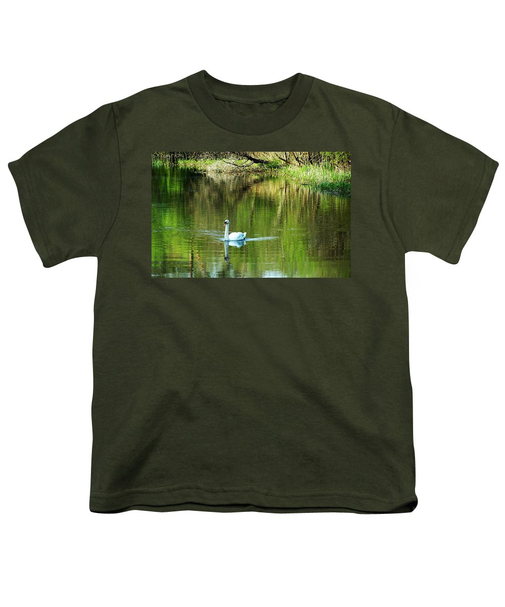 Irish Youth T-Shirt featuring the photograph Swan On The Cong River Cong Ireland by Teresa Mucha