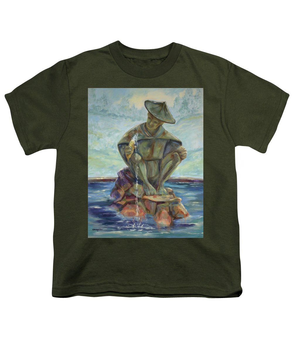 Landscape Youth T-Shirt featuring the painting Taipei Fountain by Ginger Concepcion