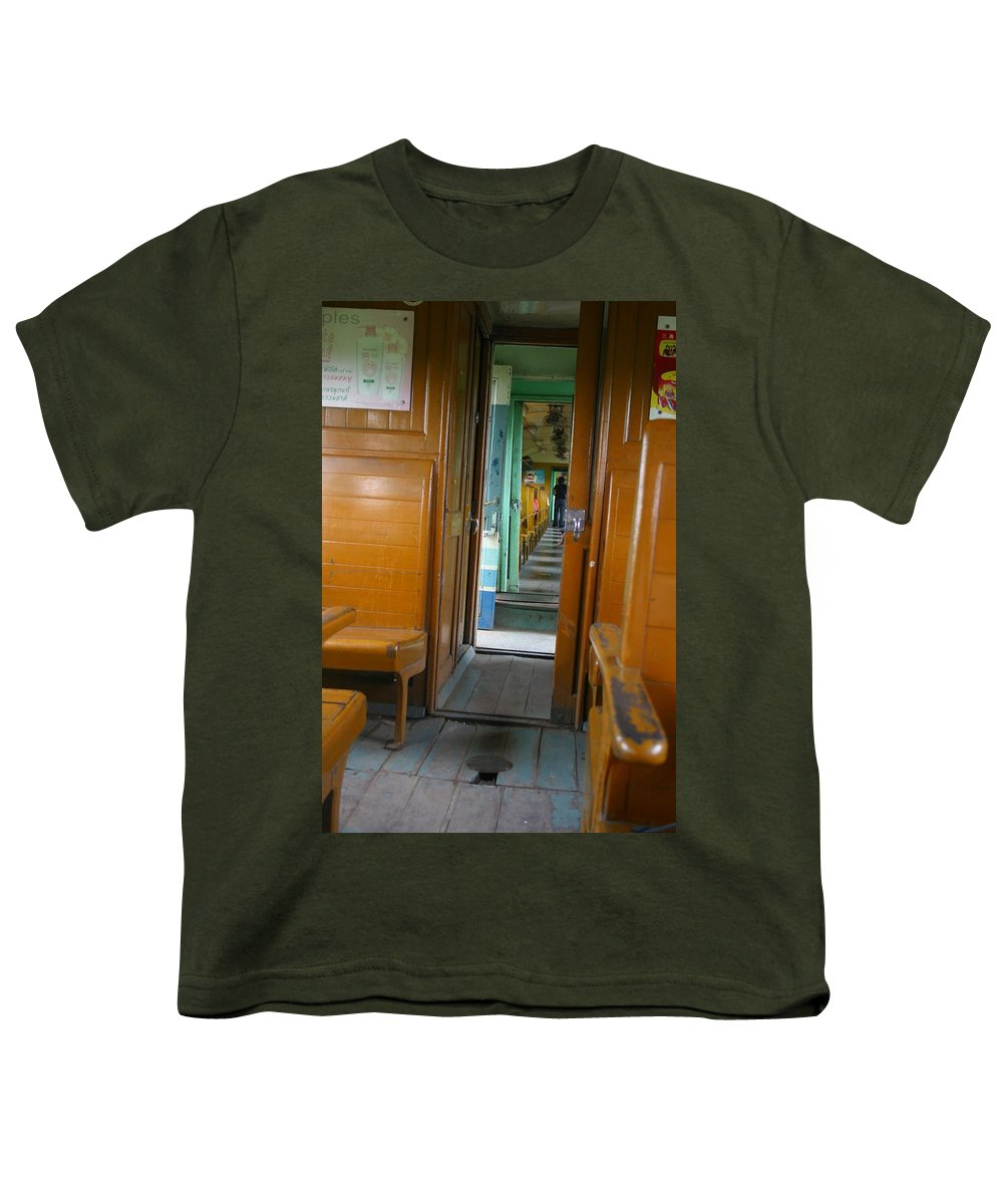 Train Youth T-Shirt featuring the photograph Thailand Train by Minaz Jantz