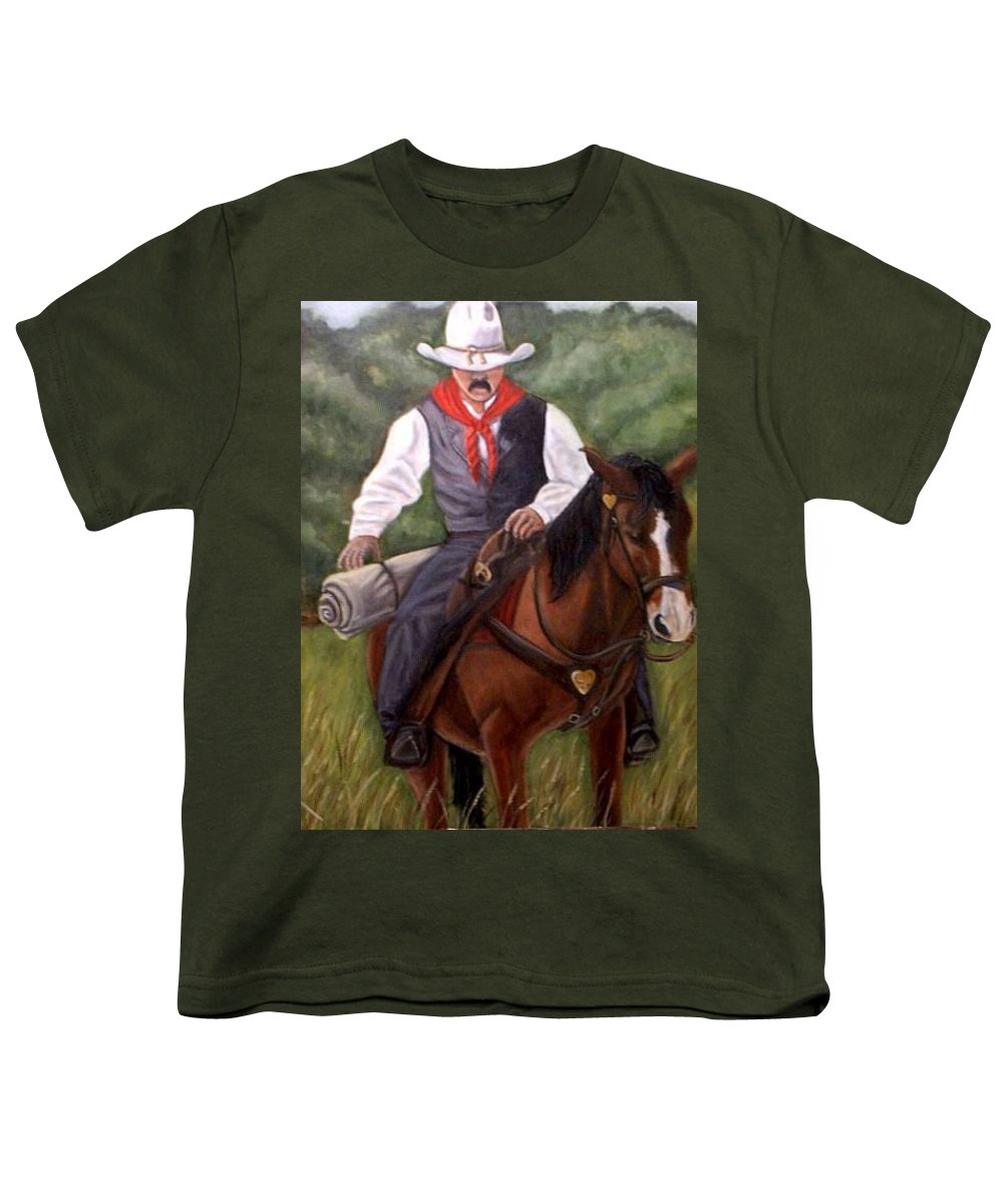 Portrait Youth T-Shirt featuring the painting The Cowboy by Toni Berry