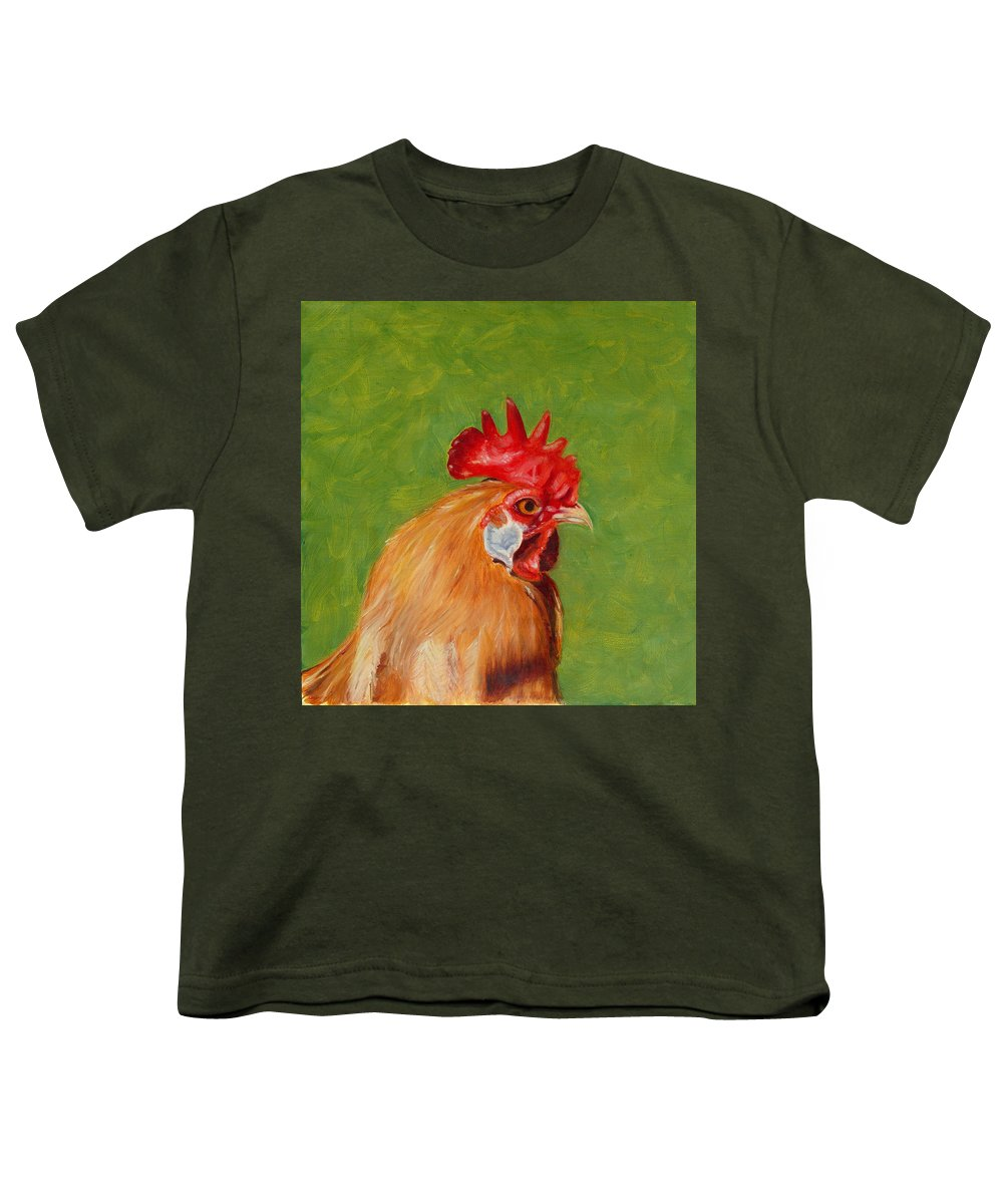 Rooster Youth T-Shirt featuring the painting The Gladiator by Paula Emery