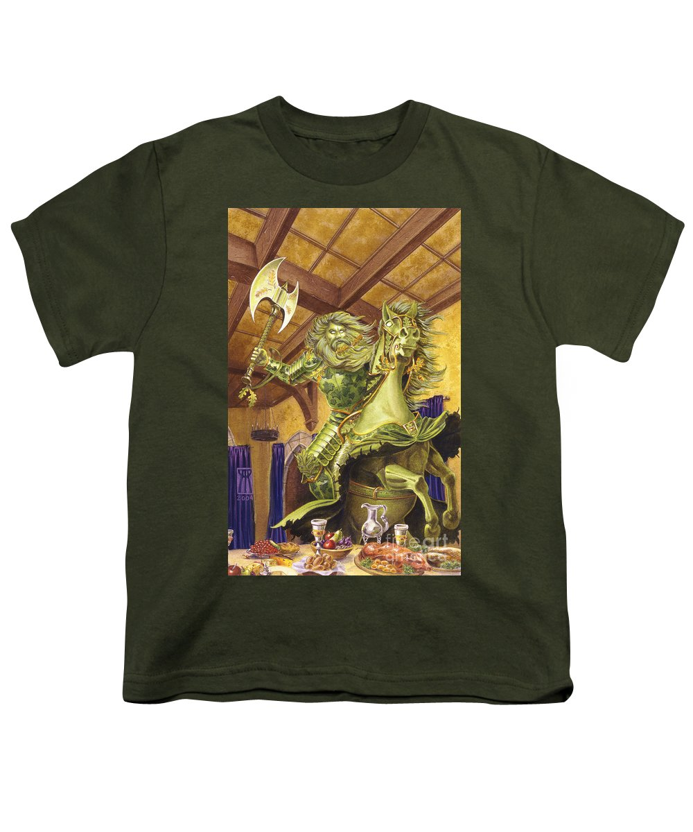 Fine Art Youth T-Shirt featuring the painting The Green Knight by Melissa A Benson