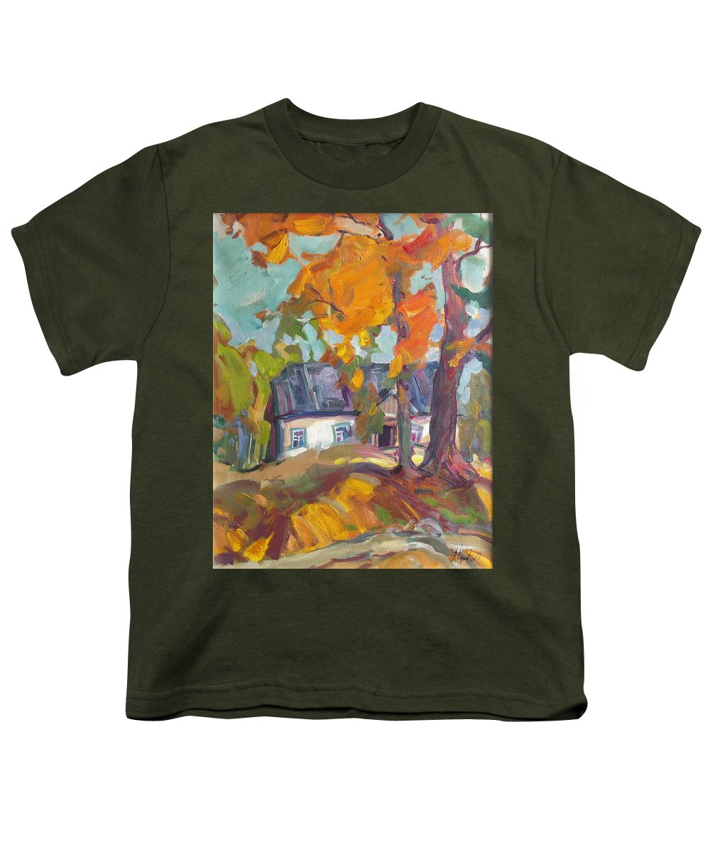 Oil Youth T-Shirt featuring the painting The House In Chervonka Village by Sergey Ignatenko