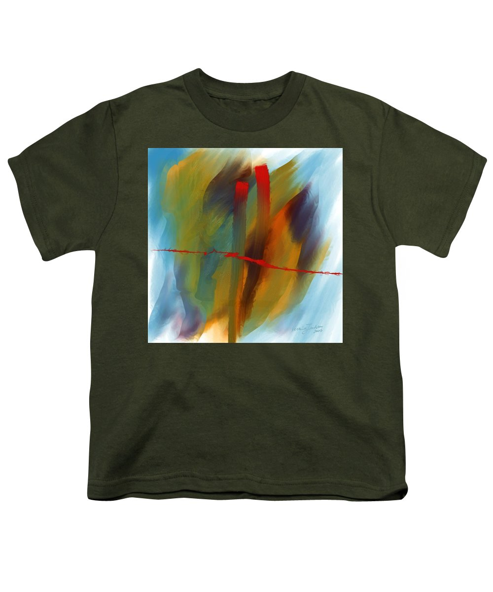 Red Abstract Lines Soft Moves Air Water Youth T-Shirt featuring the digital art The Red Line by Veronica Jackson
