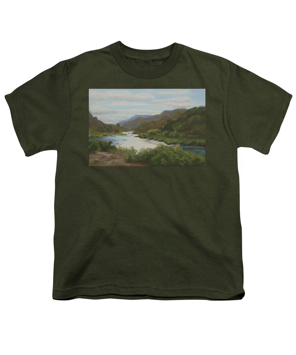 Landscape Youth T-Shirt featuring the painting The Rio Grande Between Taos And Santa Fe by Lea Novak