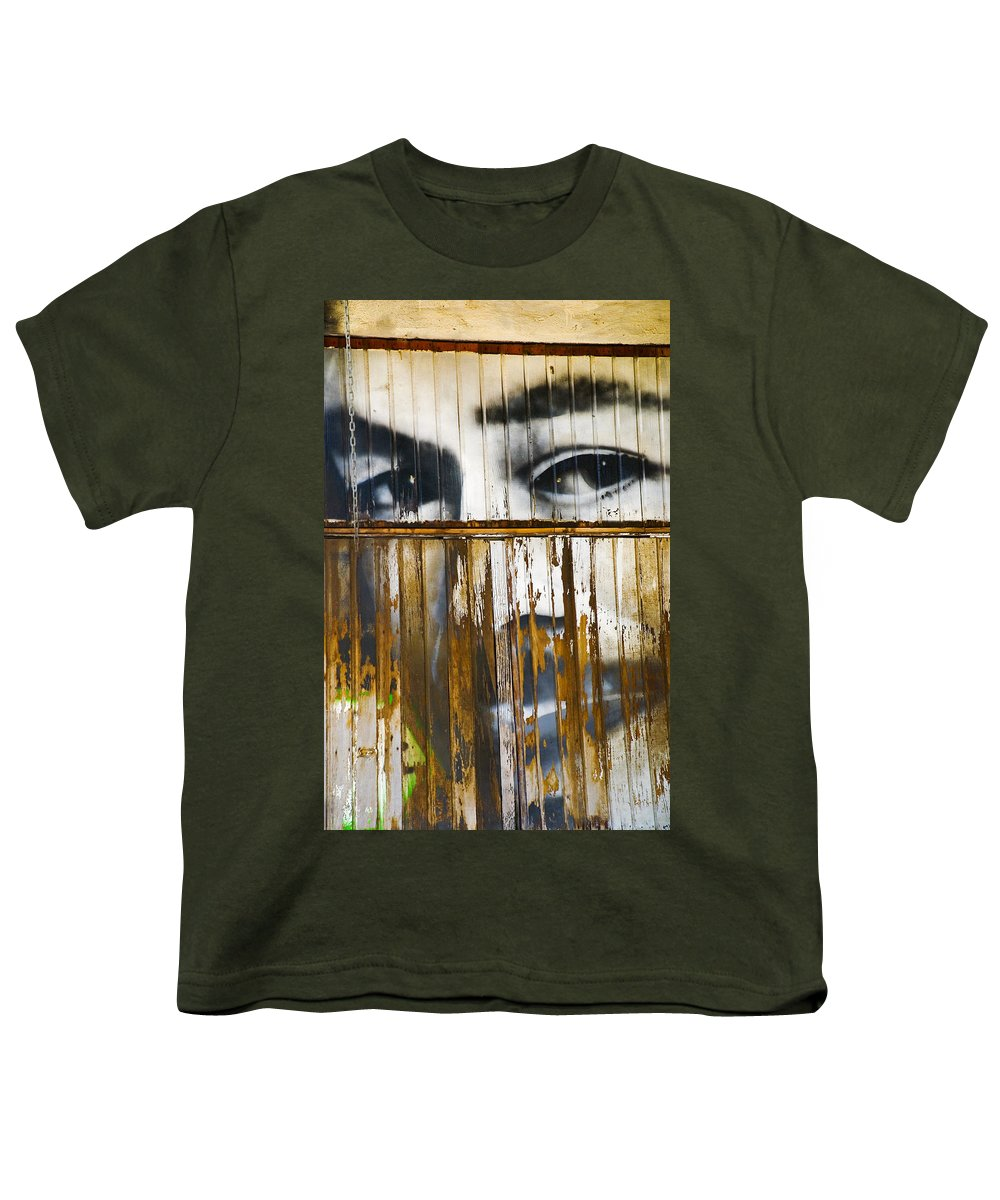 Escondido Youth T-Shirt featuring the photograph The Walls Have Eyes by Skip Hunt