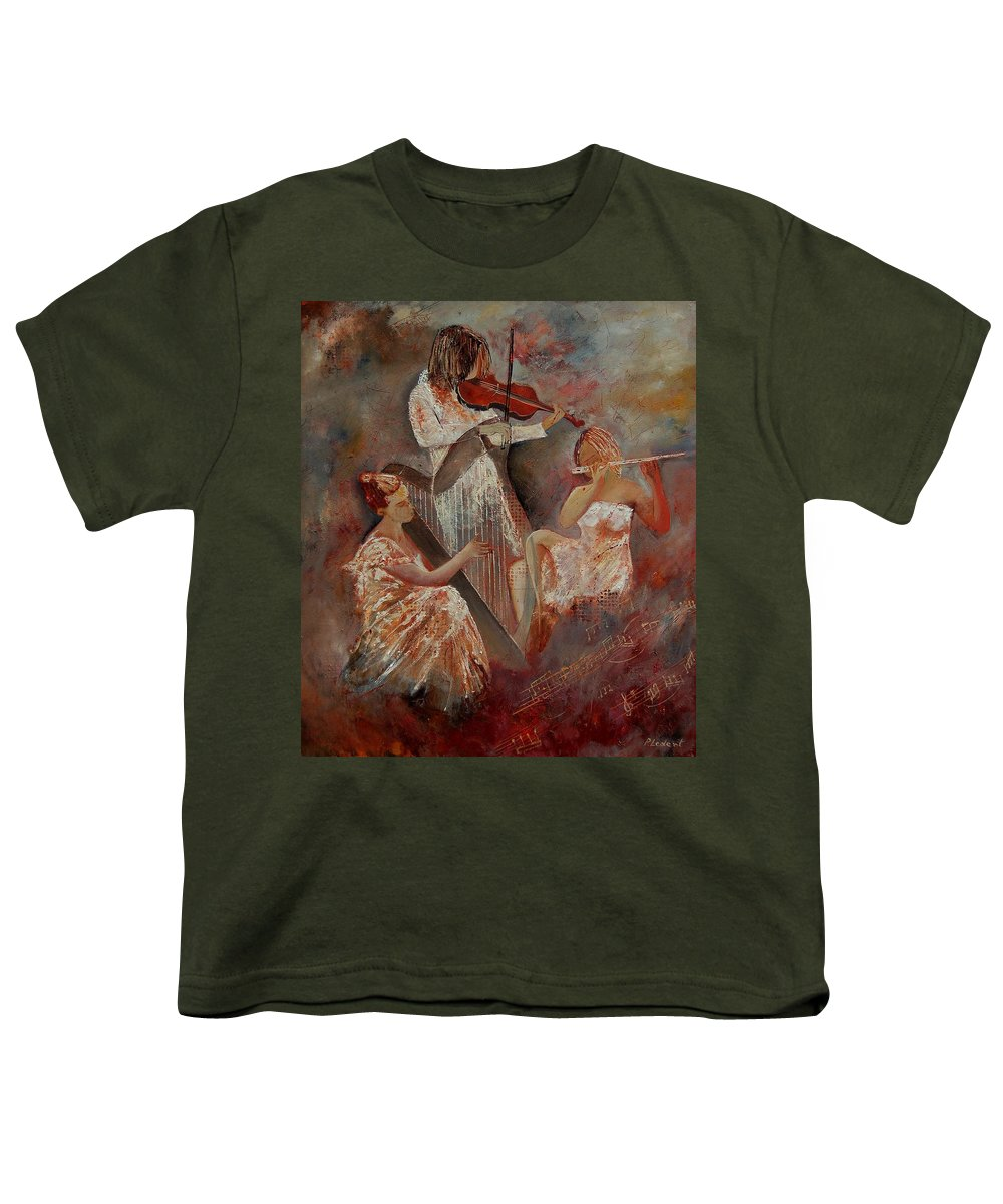 Music Youth T-Shirt featuring the painting Three Musicians by Pol Ledent