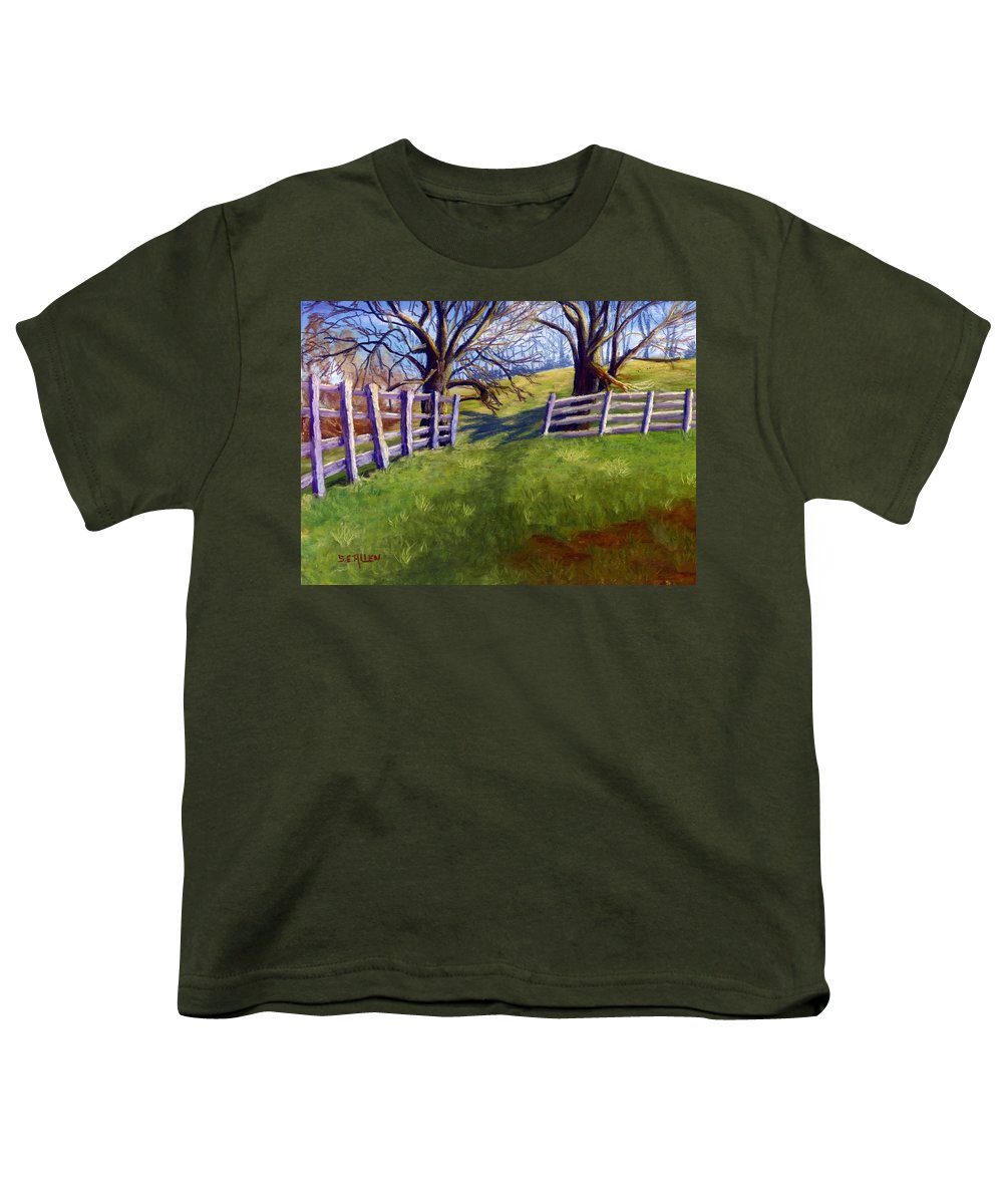 Pasture Youth T-Shirt featuring the painting Throught The Pasture Gate by Sharon E Allen