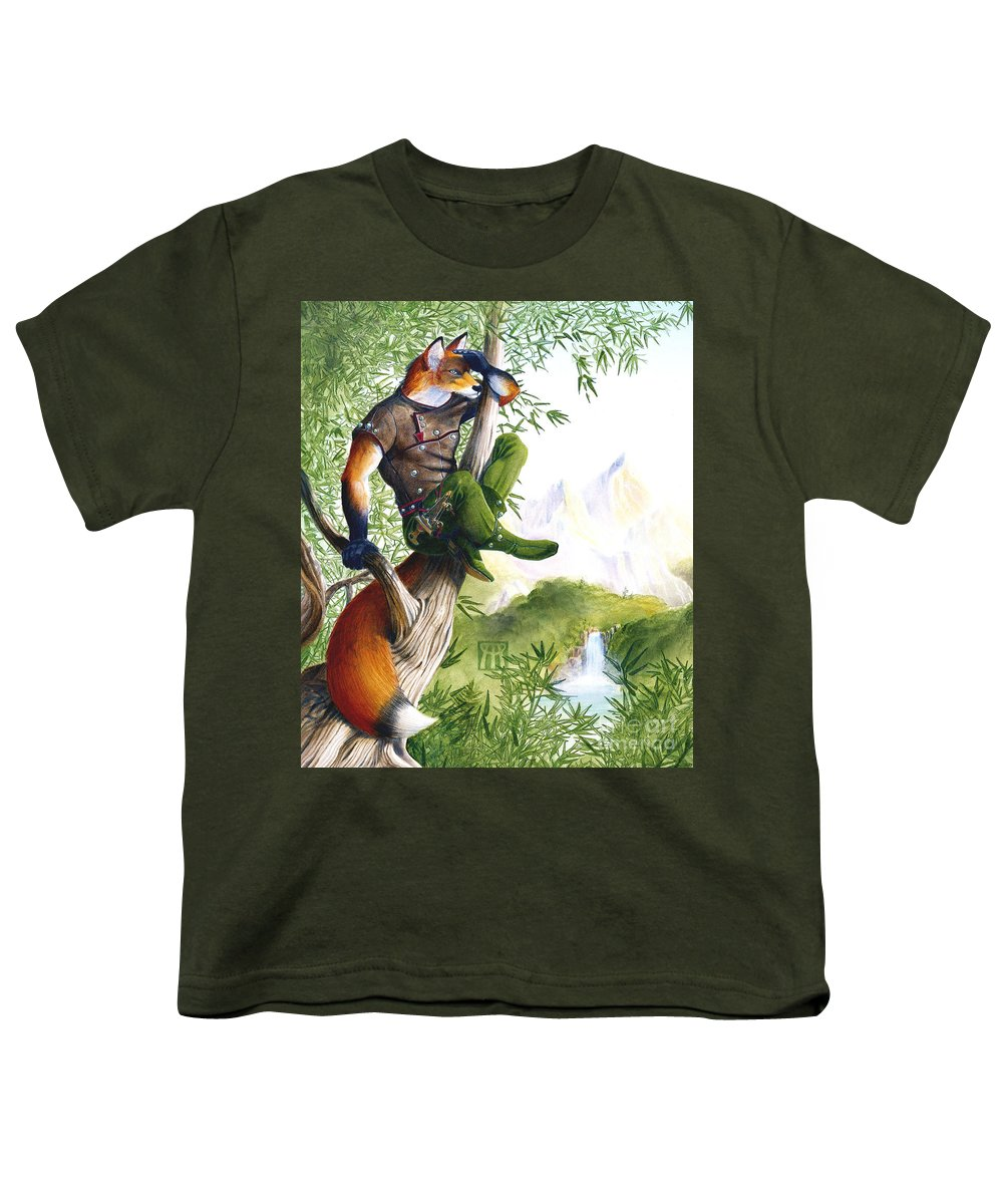 Fantasy Youth T-Shirt featuring the painting Trail Blazing Fox by Melissa A Benson
