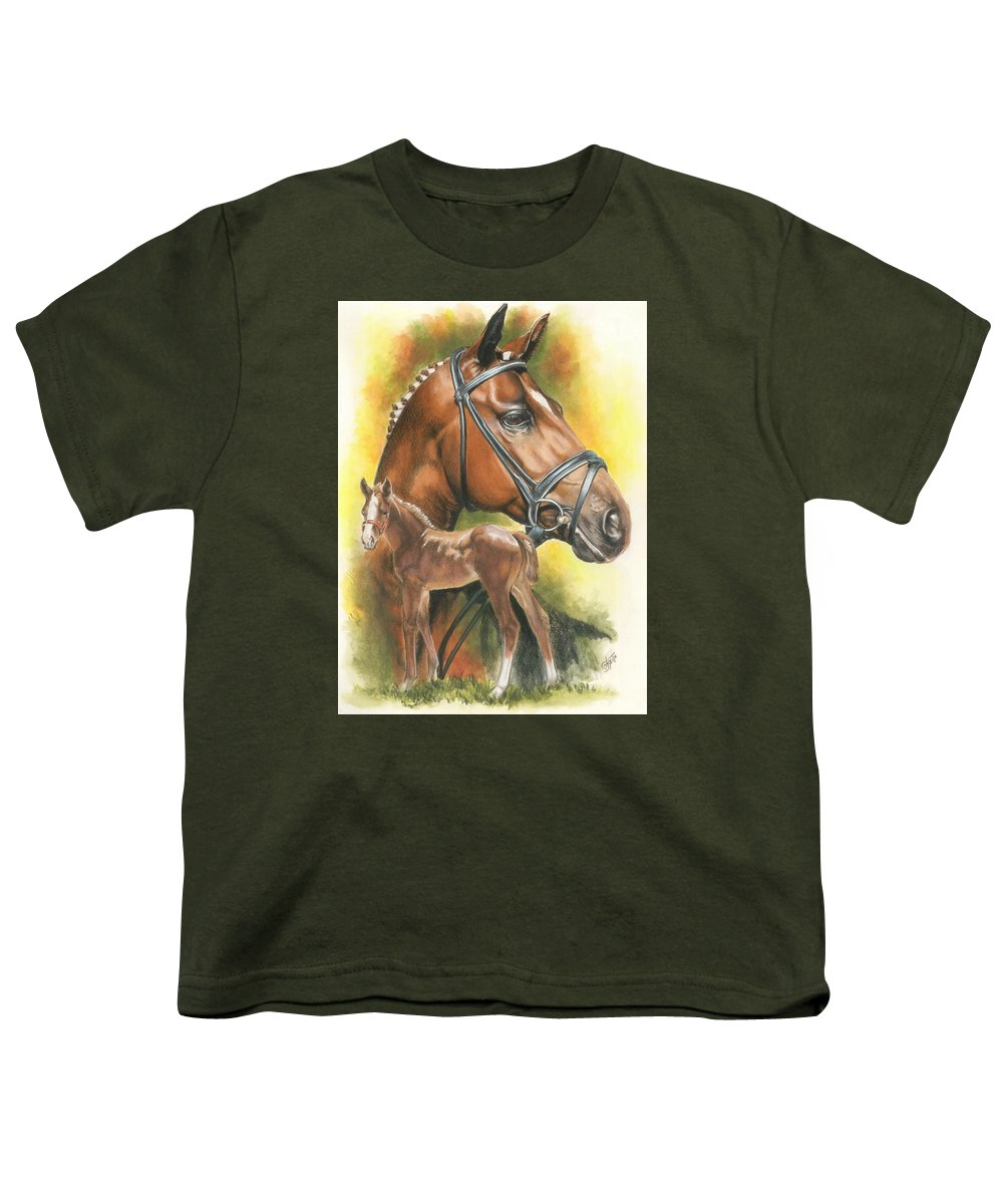 Jumper Hunter Youth T-Shirt featuring the mixed media Trakehner by Barbara Keith