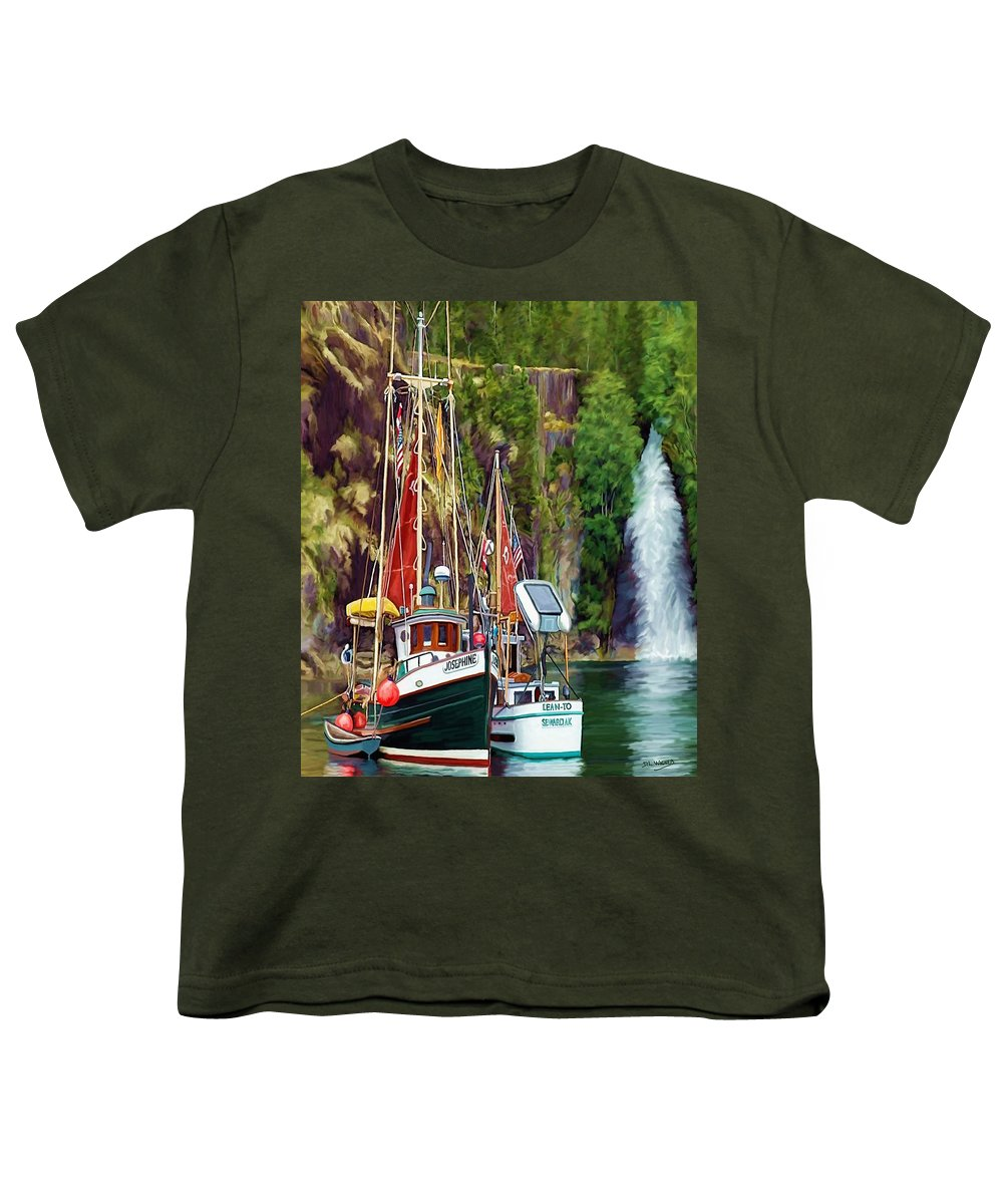 Boats Youth T-Shirt featuring the painting Tranquility by David Wagner
