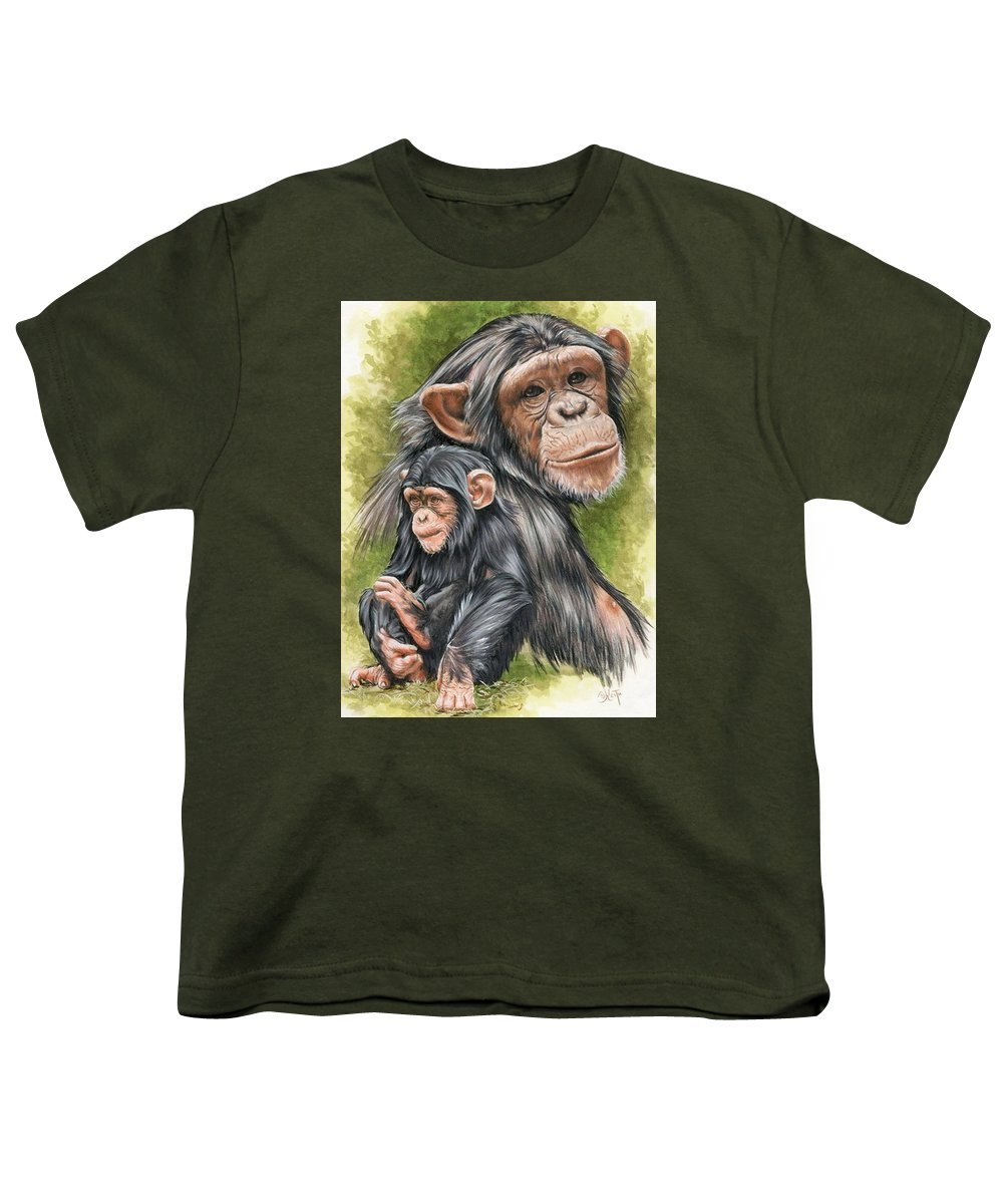Chimpanzee Youth T-Shirt featuring the mixed media Treasure by Barbara Keith