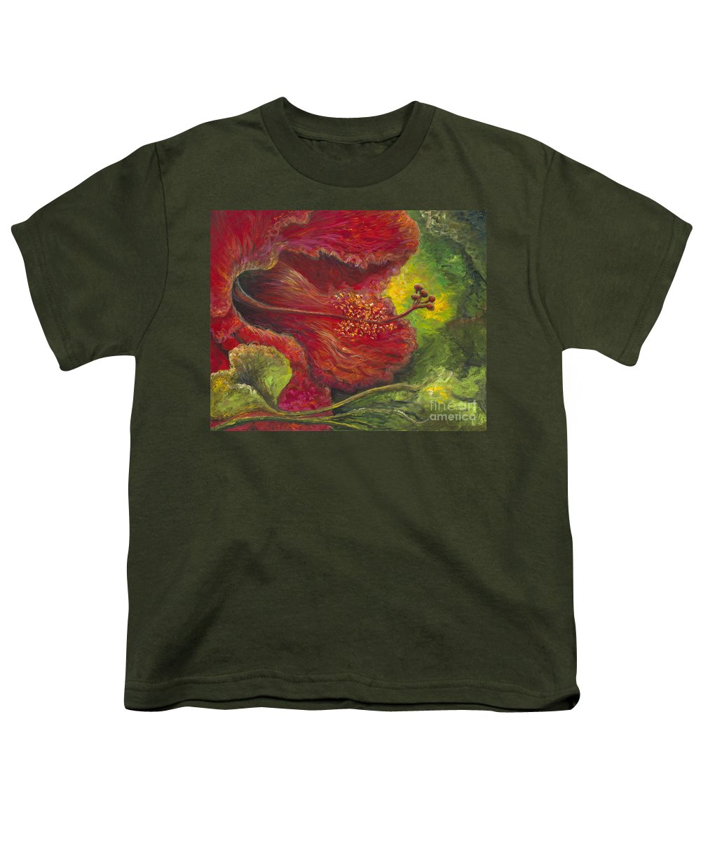 Flowers Youth T-Shirt featuring the painting Tropical Hibiscus by Nadine Rippelmeyer