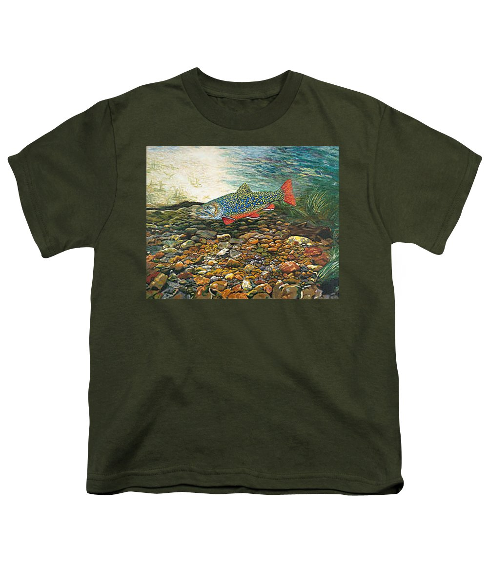 Art Youth T-Shirt featuring the painting Trout Art Fish Art Brook Trout Suspended Artwork Giclee Fine Art Print by Baslee Troutman