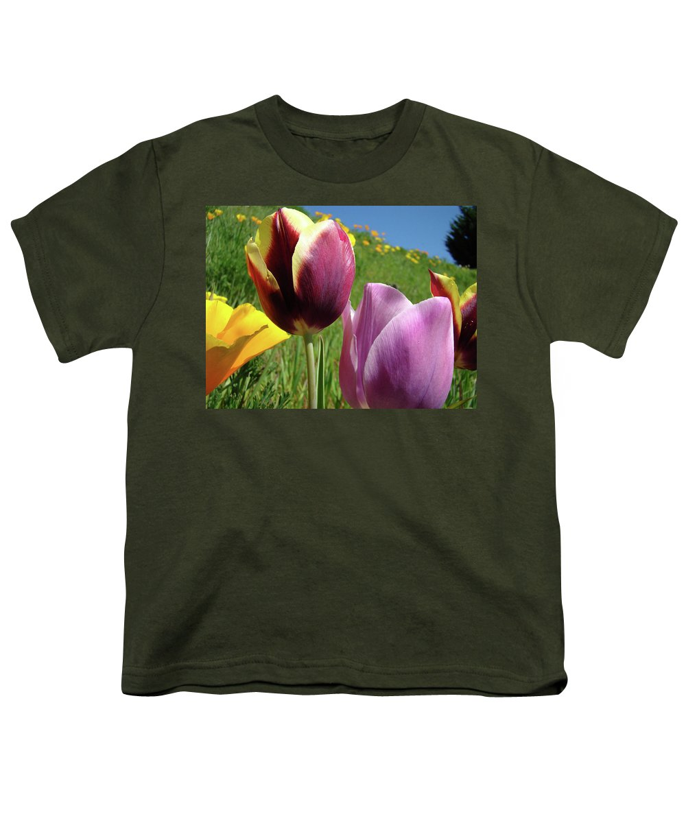 �tulips Artwork� Youth T-Shirt featuring the photograph Tulips Artwork Tulip Flowers Spring Meadow Nature Art Prints by Baslee Troutman