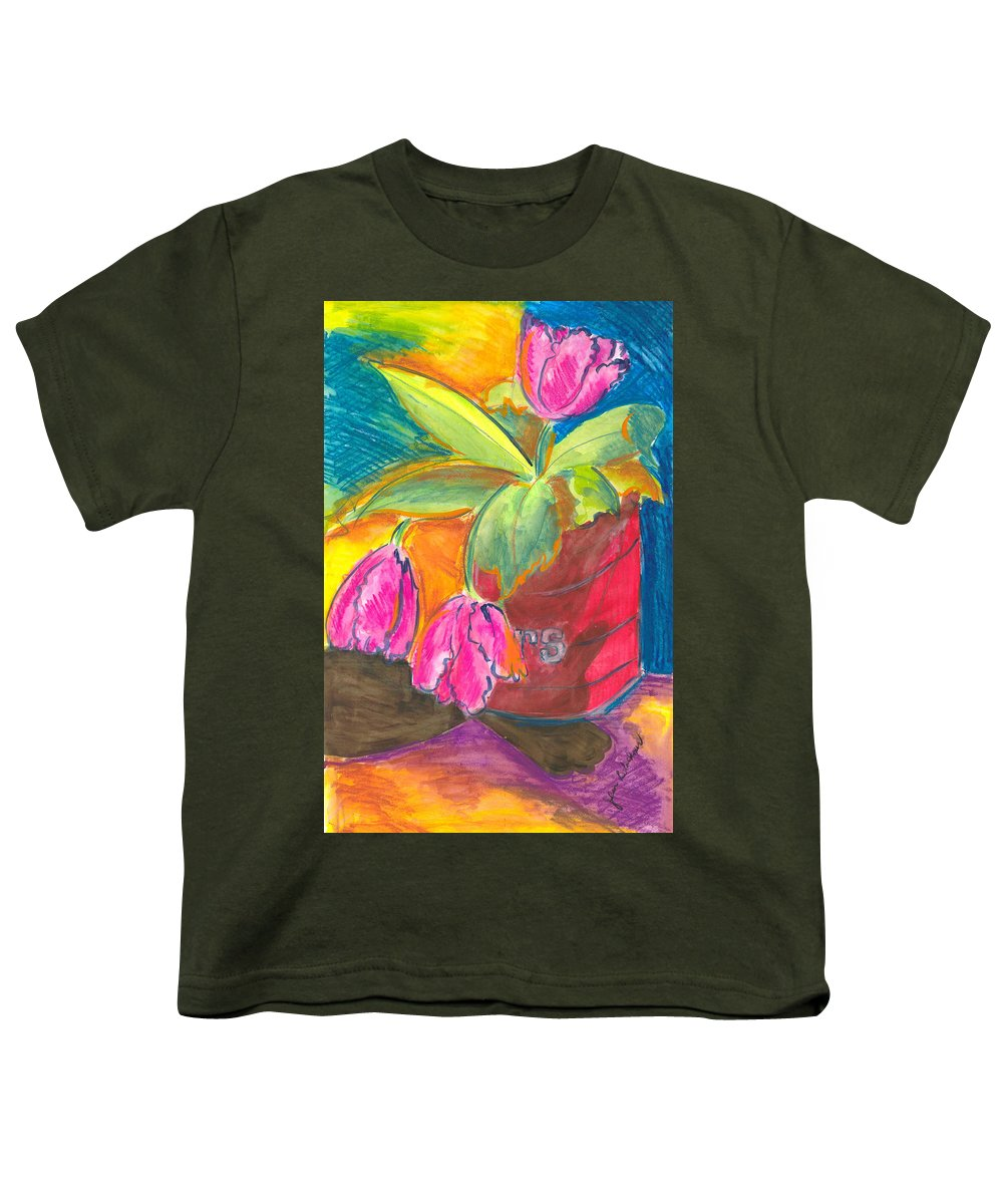 Flowers Youth T-Shirt featuring the painting Tulips In Can by Jean Blackmer