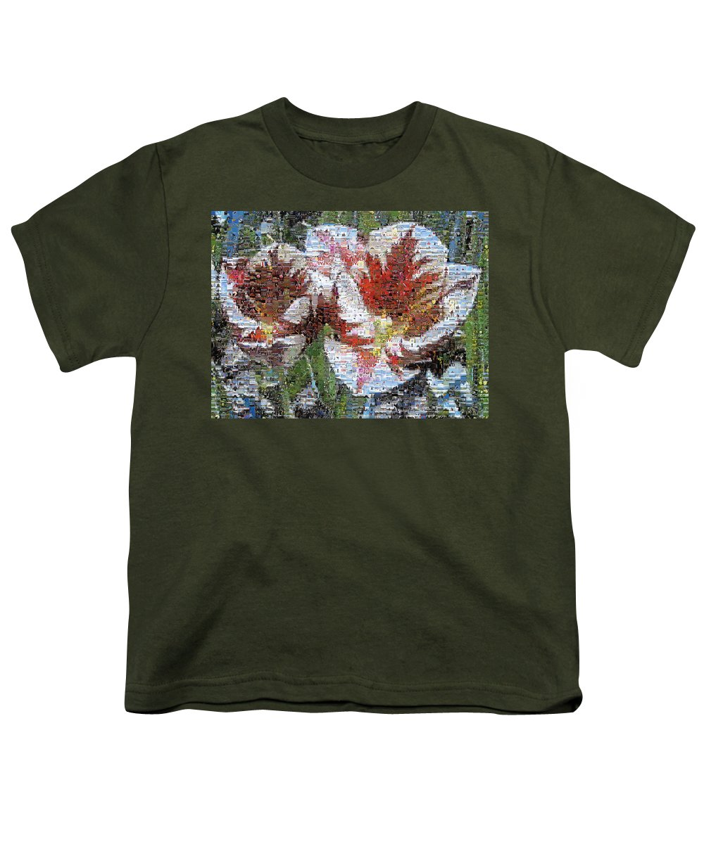 Lighthouse Youth T-Shirt featuring the photograph Tulips In Springtime Photomosaic by Michelle Calkins