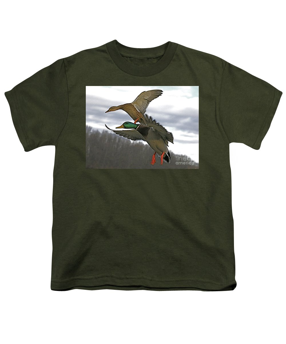 Duck Youth T-Shirt featuring the photograph Two Land by Robert Pearson