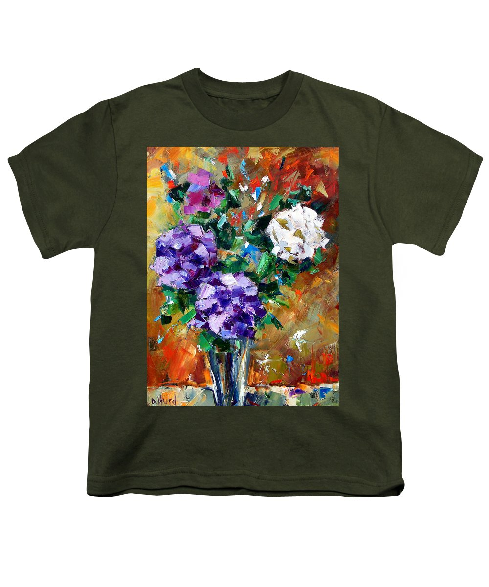 Flowers Youth T-Shirt featuring the painting Vase Of Color by Debra Hurd