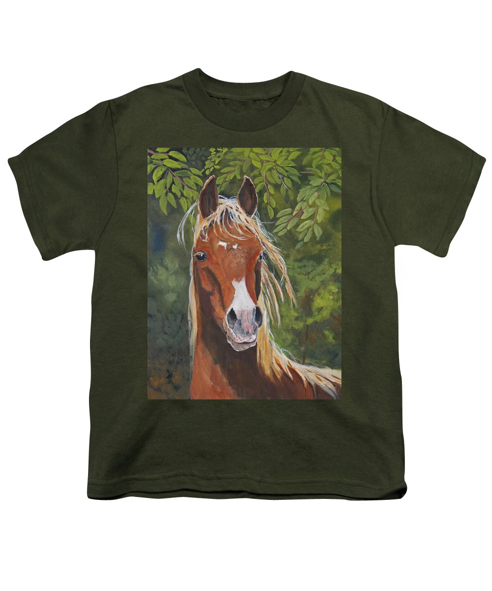 Horse Youth T-Shirt featuring the painting Victory by Heather Coen
