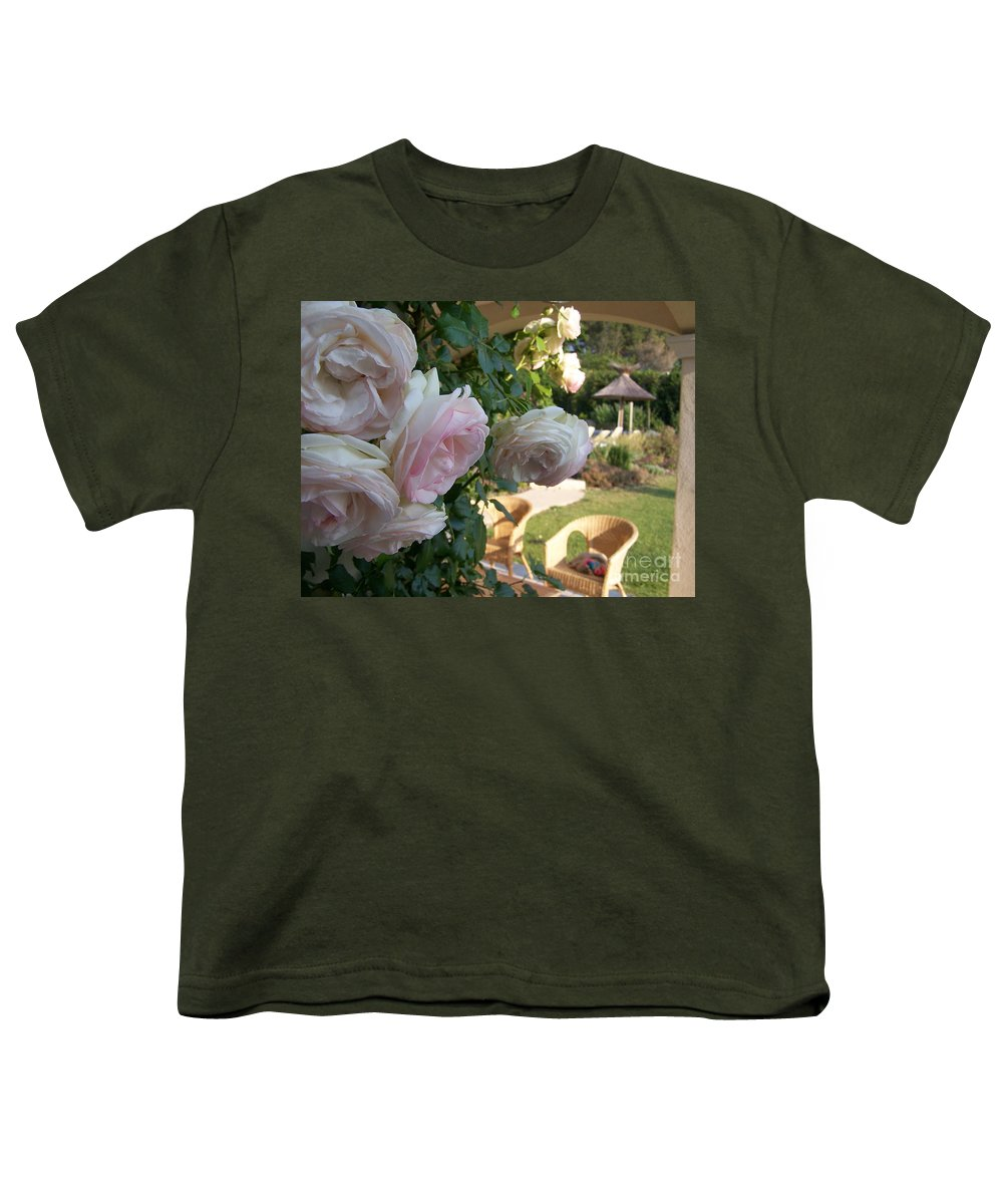 Roses Youth T-Shirt featuring the photograph Villa Roses by Nadine Rippelmeyer