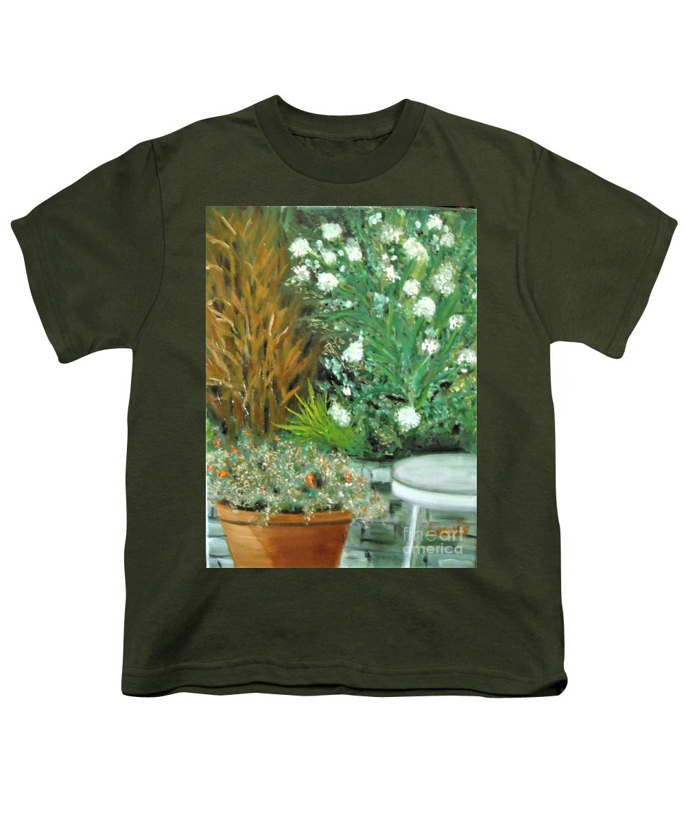 Virginia Youth T-Shirt featuring the painting Virginia's Garden by Laurie Morgan