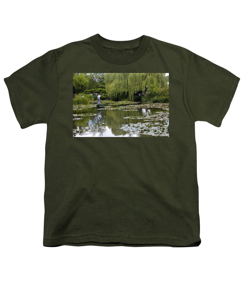 Monet Gardens Giverny France Water Lily Punt Boat Water Willows Youth T-Shirt featuring the photograph Water Lily Garden Of Monet In Giverny by Sheila Smart Fine Art Photography