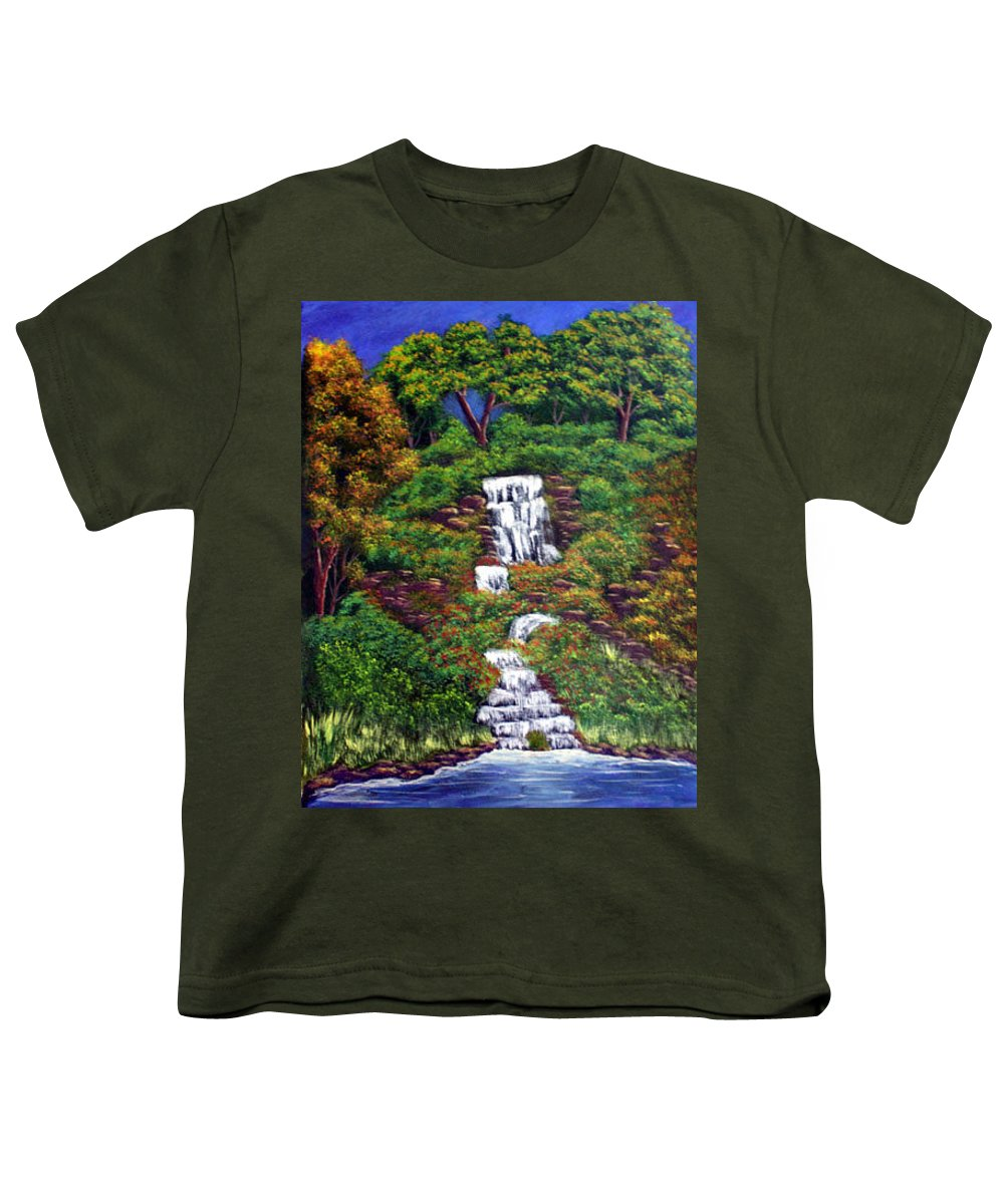 Waterfall Youth T-Shirt featuring the painting Waterfall by Dawn Blair