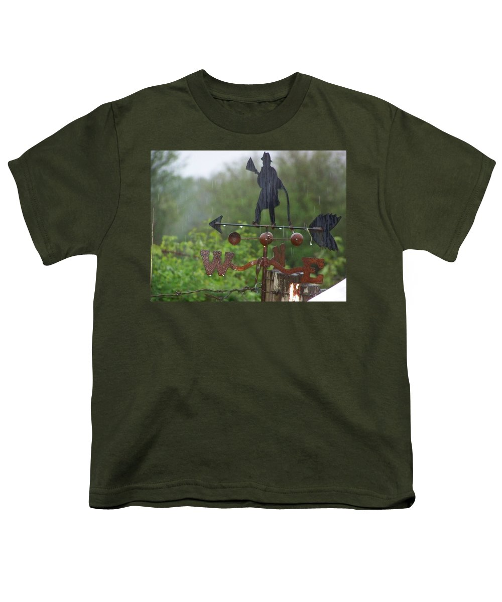 Digital Photography Youth T-Shirt featuring the photograph Weather Vane In The Rain by Laurie Kidd