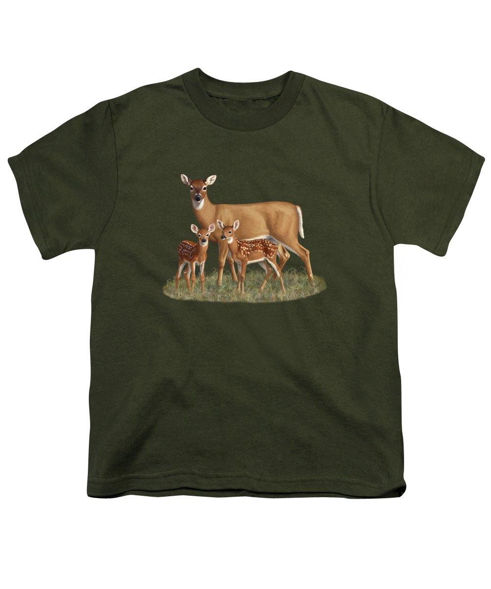 Whitetail Deer Youth T-Shirt featuring the painting Whitetail Doe And Fawns - Mom's Little Spring Blossoms by Crista Forest