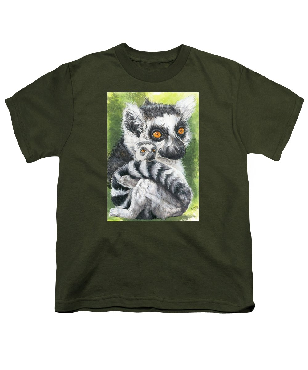 Lemur Youth T-Shirt featuring the mixed media Wistful by Barbara Keith