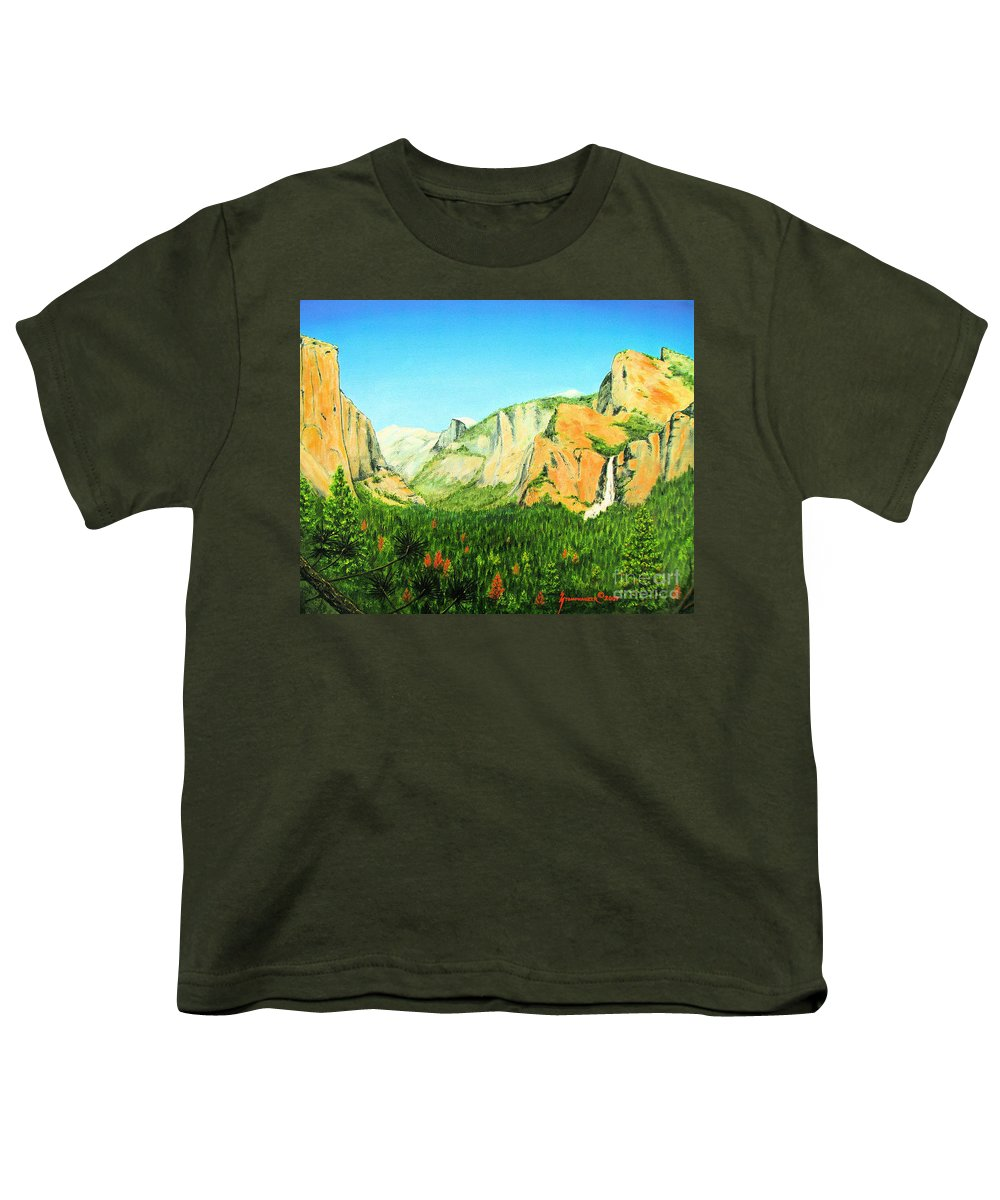 Yosemite National Park Youth T-Shirt featuring the painting Yosemite National Park by Jerome Stumphauzer