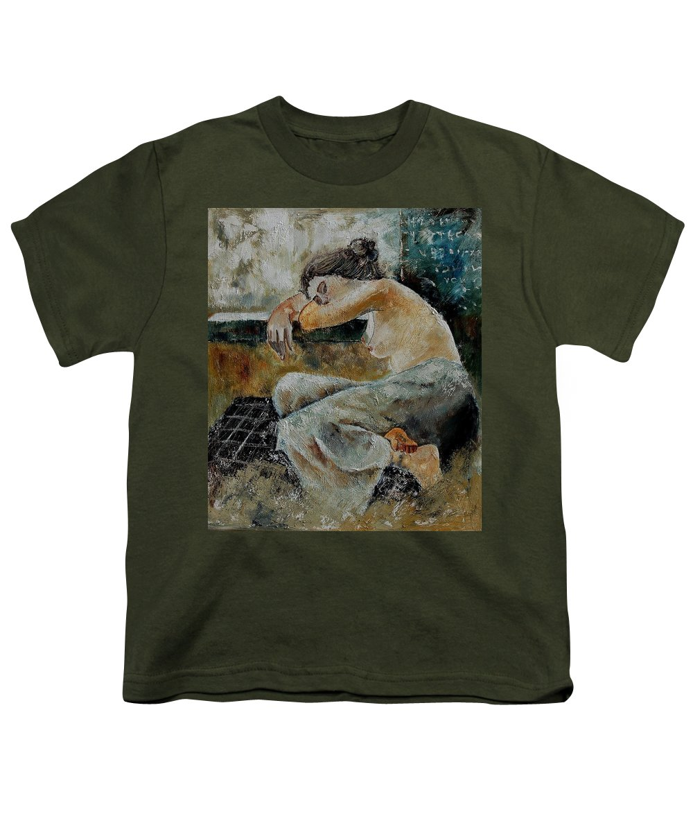 Girl Youth T-Shirt featuring the painting Young Girl 679050 by Pol Ledent
