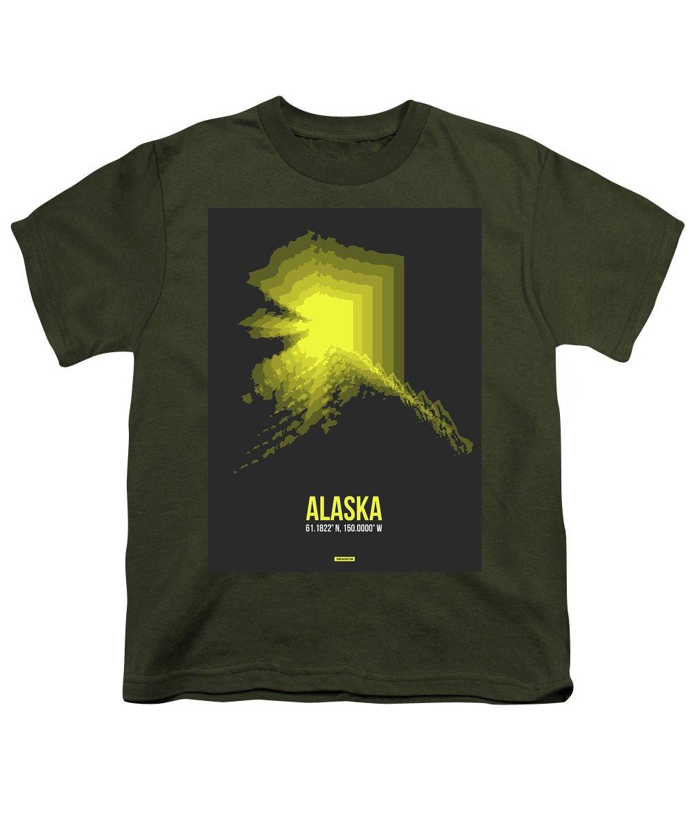 Alaska Youth T-Shirt featuring the digital art Map Of Alaska by Naxart Studio