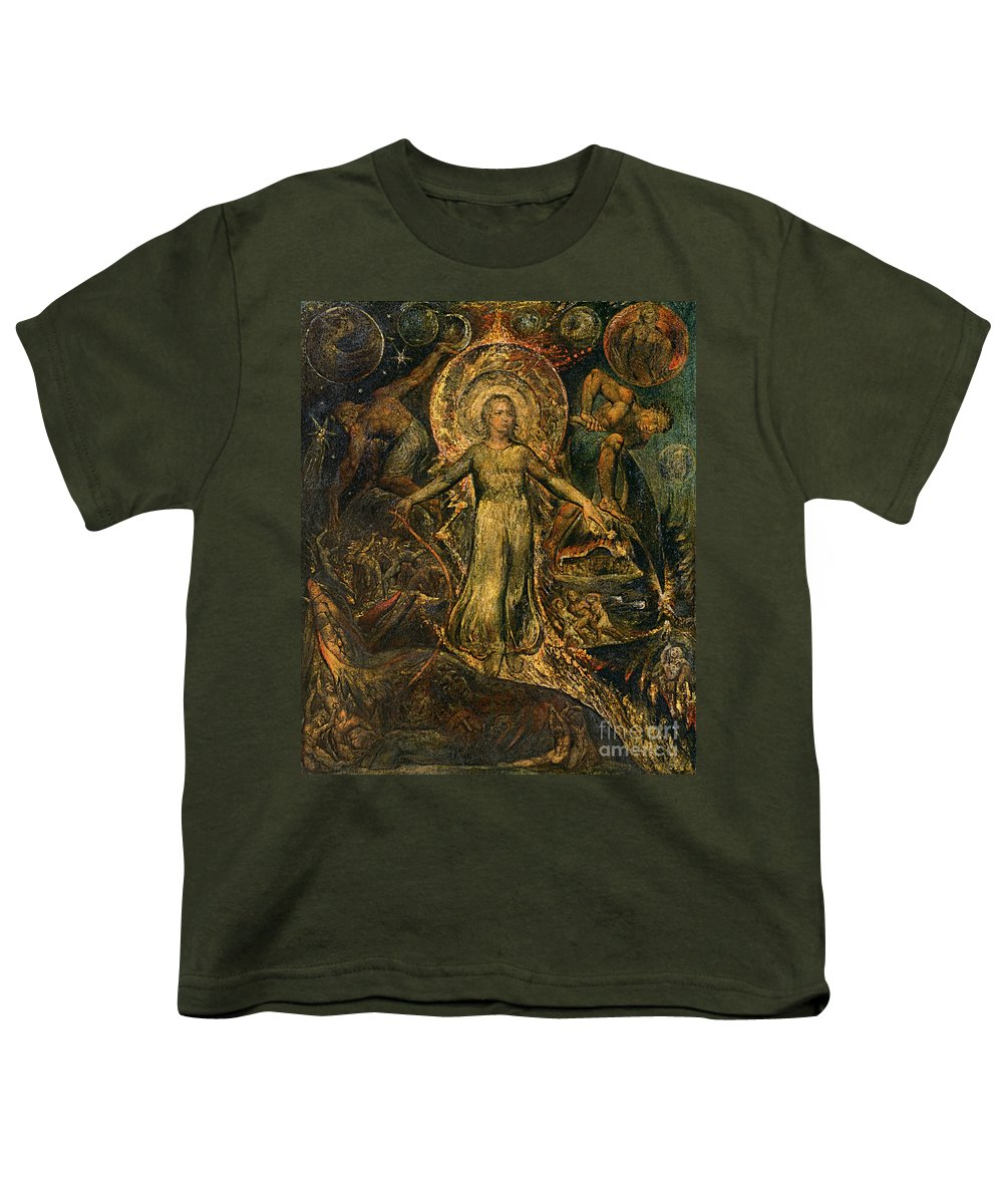 1805 Youth T-Shirt featuring the painting Pitt Guiding Behemoth, C1805 by William Blake