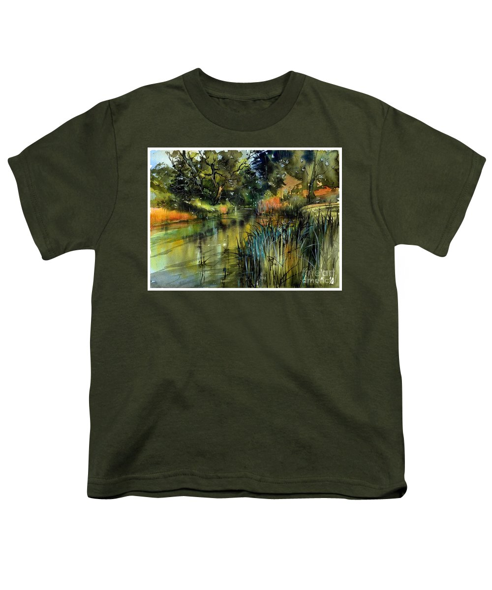 Wild Youth T-Shirt featuring the painting Sweet Flag In The Lake by Suzann Sines