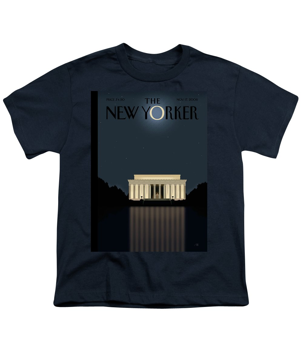 Lincoln Youth T-Shirt featuring the painting New Yorker November 17th, 2008 by Bob Staake