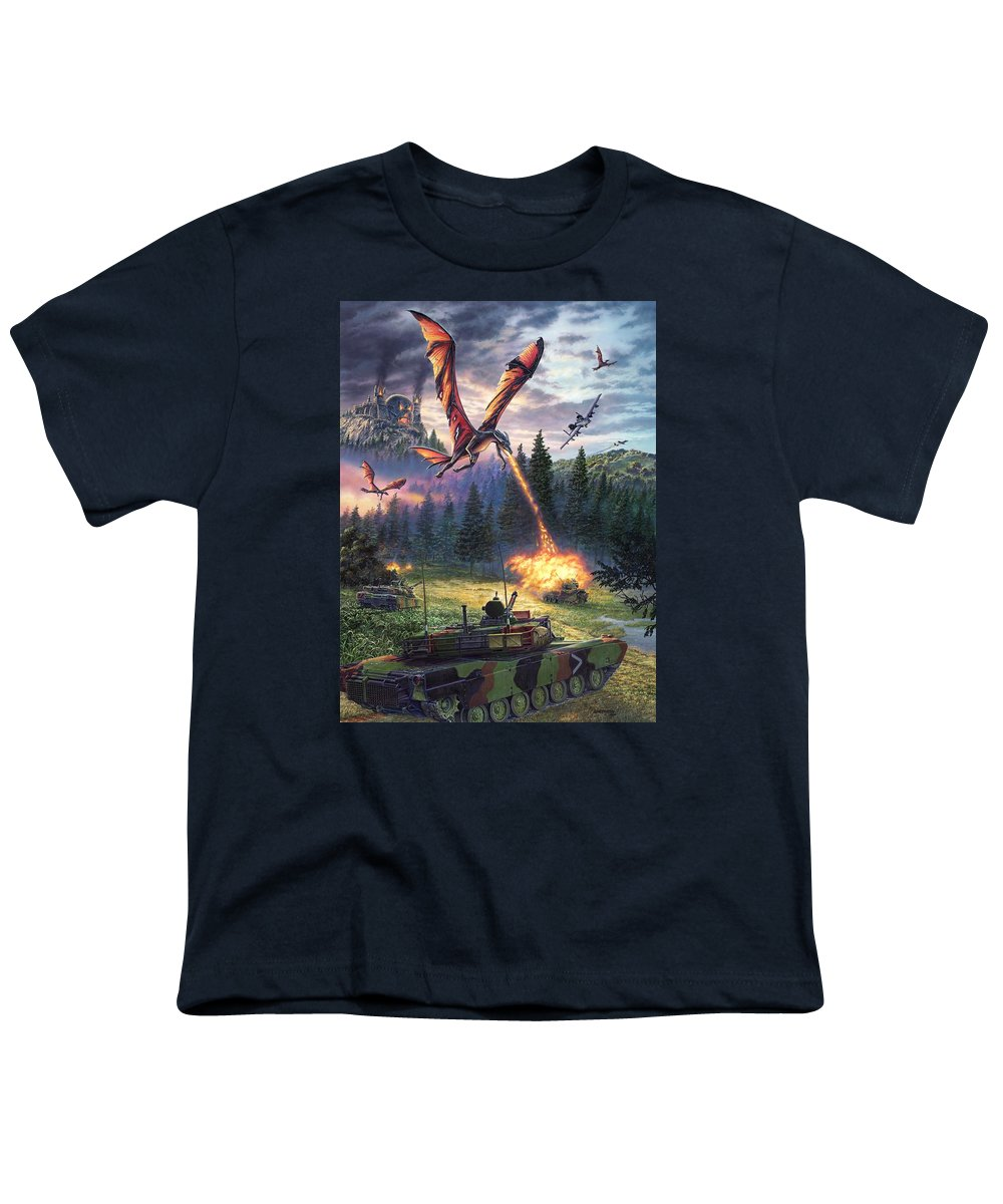 Dragon Youth T-Shirt featuring the painting A Clash Of Worlds by Stu Shepherd