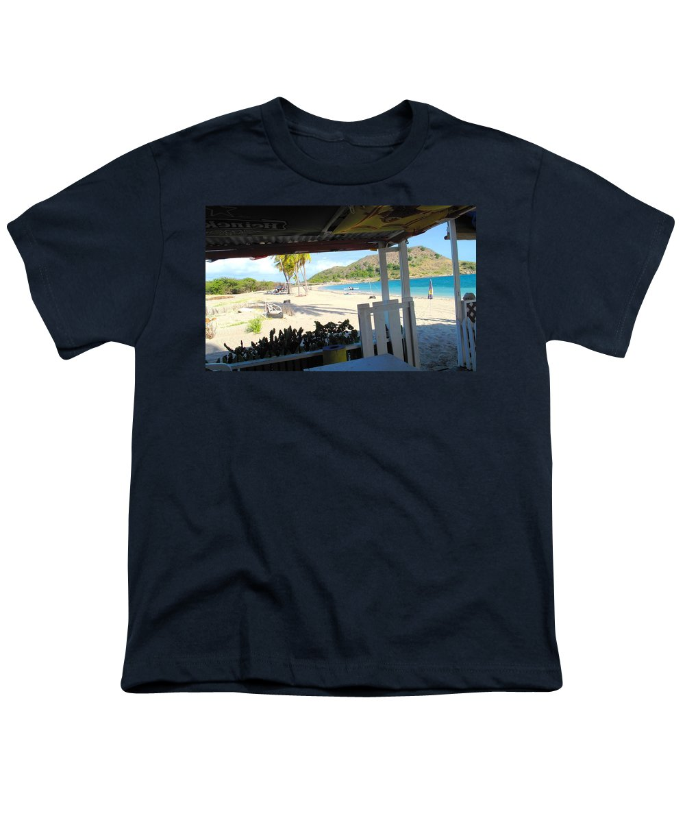 St Kitts Youth T-Shirt featuring the photograph Beach Bar In January by Ian MacDonald