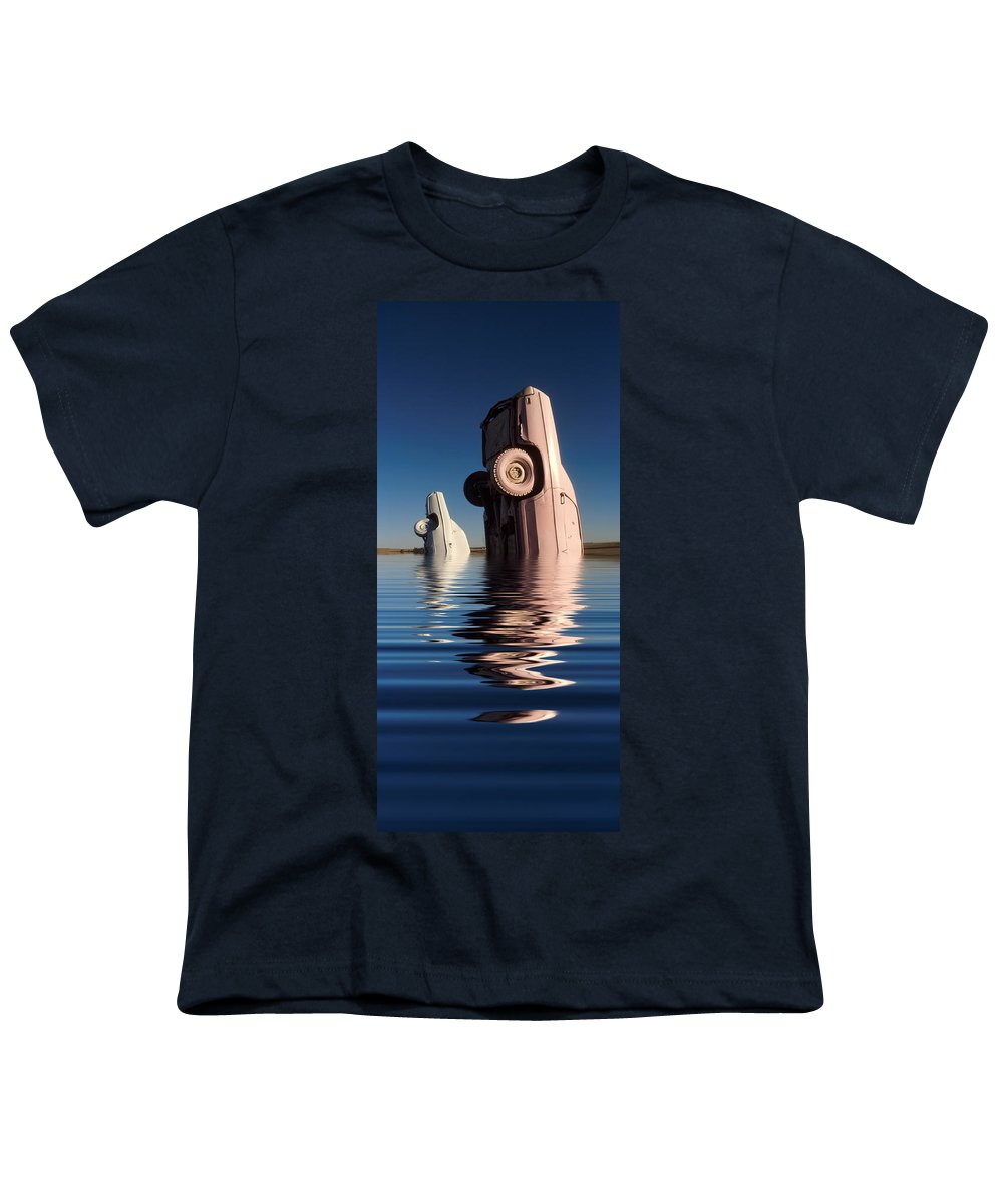 Cadillac Youth T-Shirt featuring the photograph Bobbing For Carburetors by Jerry McElroy