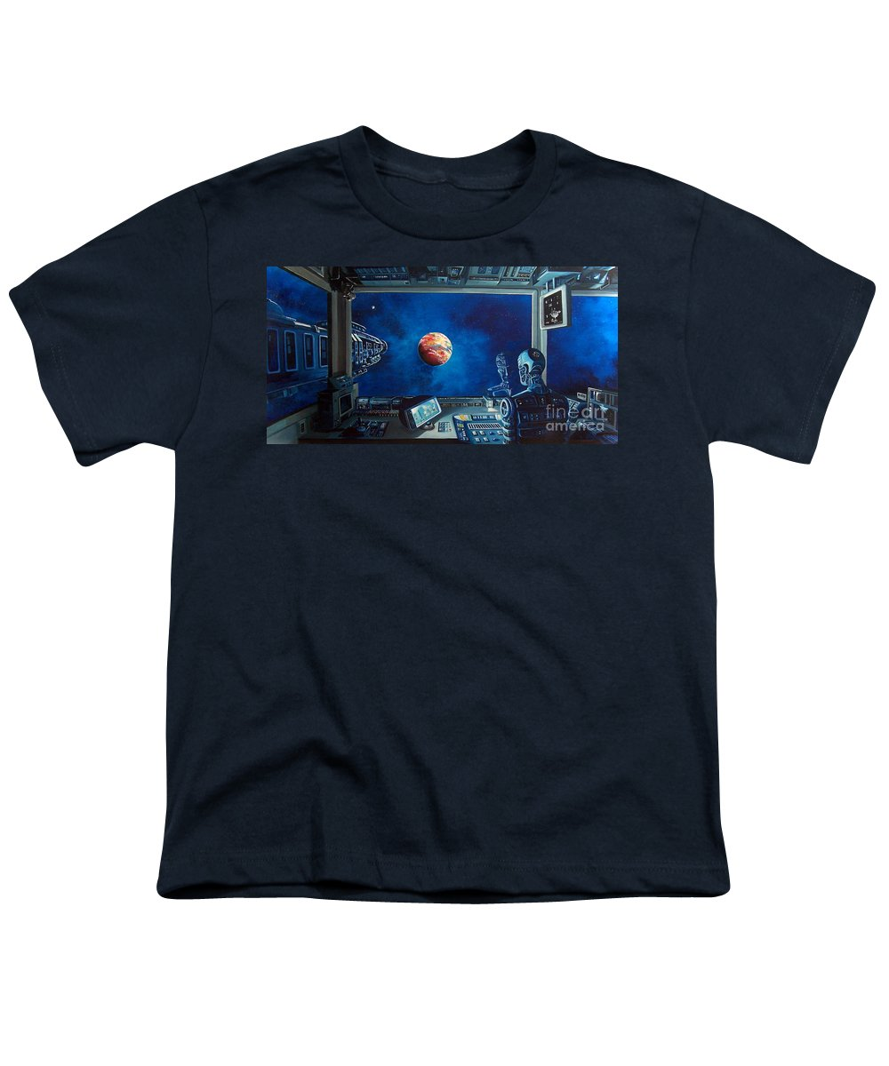 Fantasy Youth T-Shirt featuring the painting Crying Robot by Murphy Elliott