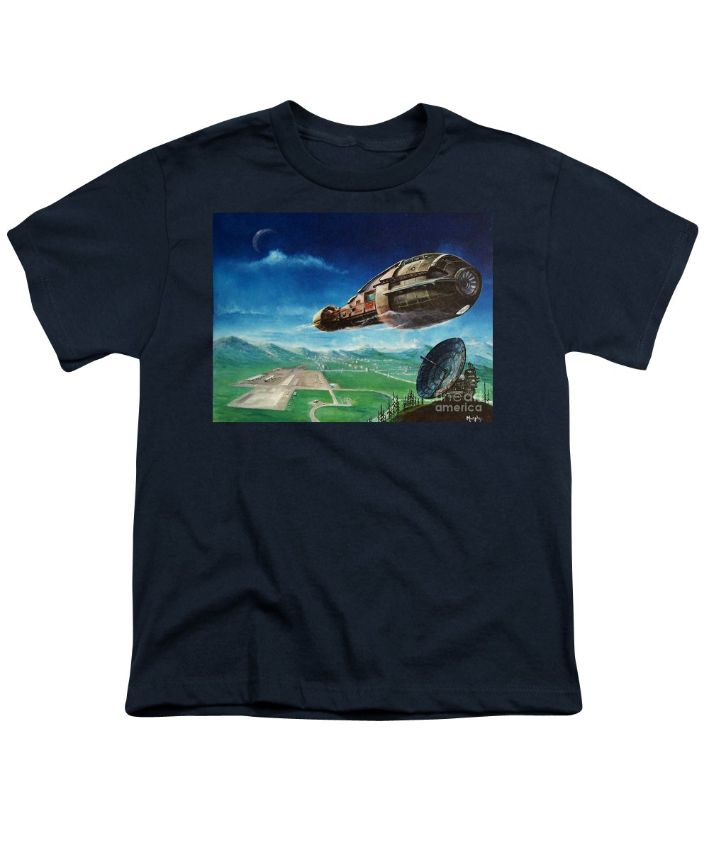 Landscape Youth T-Shirt featuring the painting Did You Call by Murphy Elliott