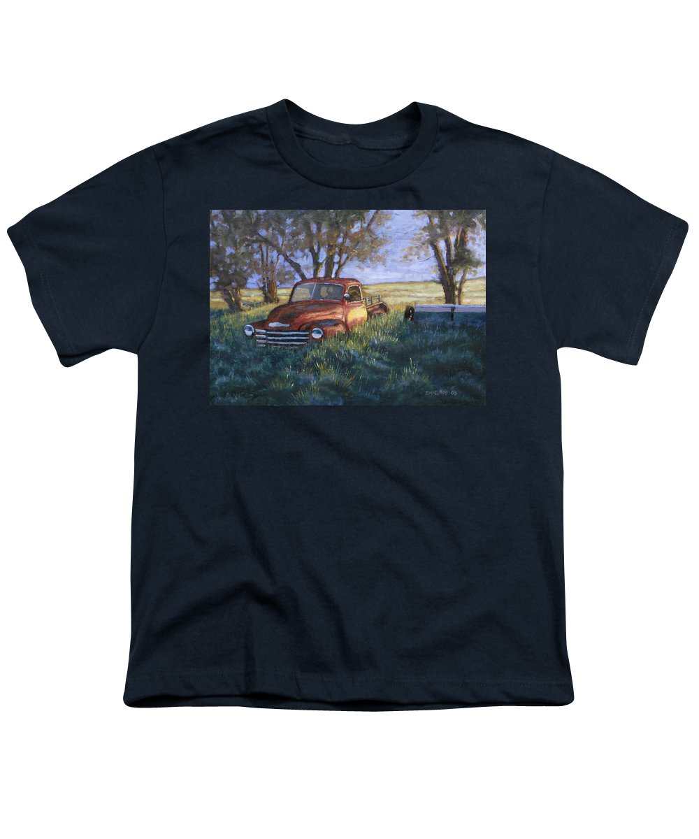 Pickup Truck Youth T-Shirt featuring the painting Forgotten But Still Good by Jerry McElroy