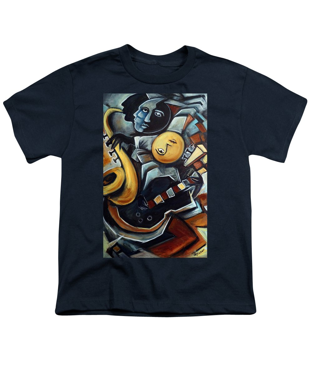 Cubism Youth T-Shirt featuring the painting Indigo Blues by Valerie Vescovi